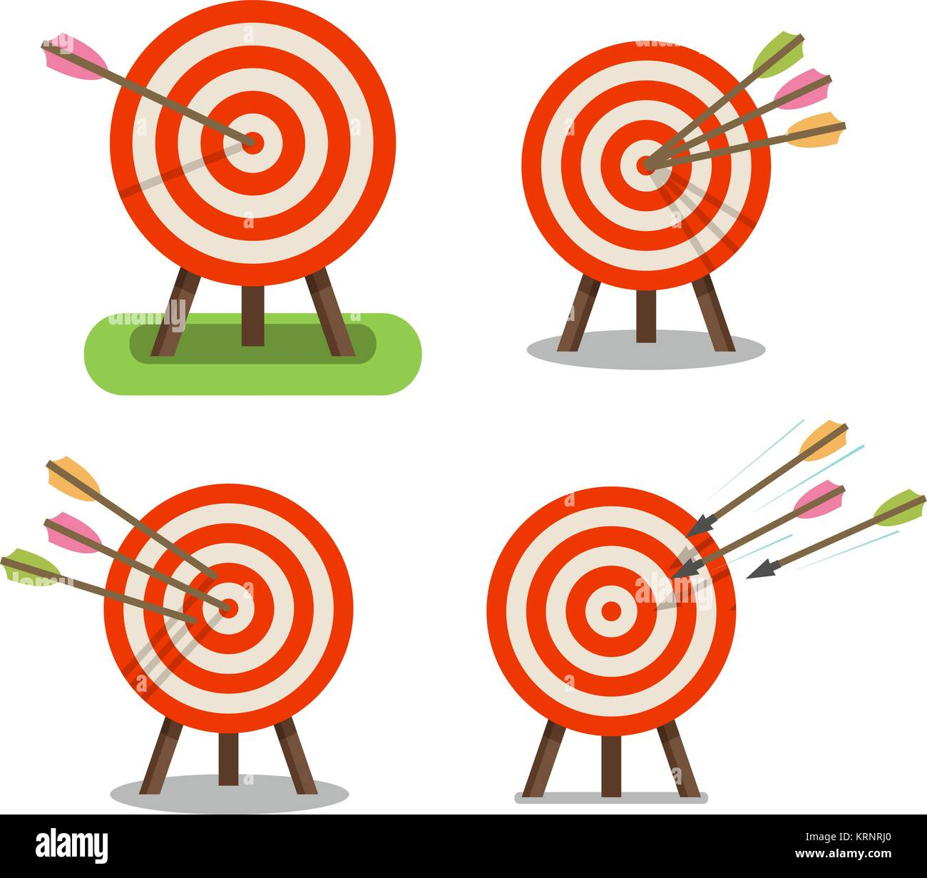 Arrows and target standing on tripod. Purpose, goal, accuracy icon. Vector illustration - Stock Image