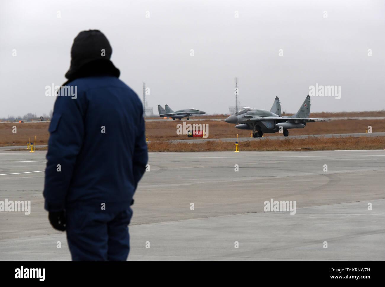 MIG-29 (MIG-29SMT) 'Fulcrum' fighter aircrafts landing after mission at the aerodrome 'Privolzhsky' - Stock Image