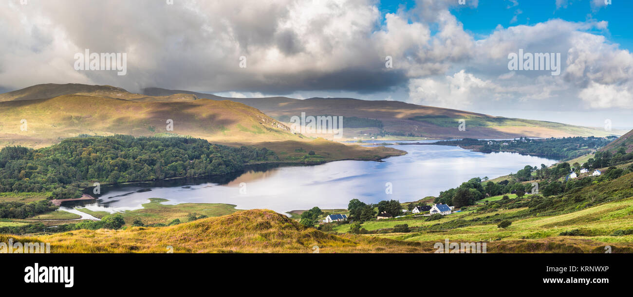 Early morning panorama over Dunlewy Lough, Dunlewy, County Donegal, Ireland - Stock Image