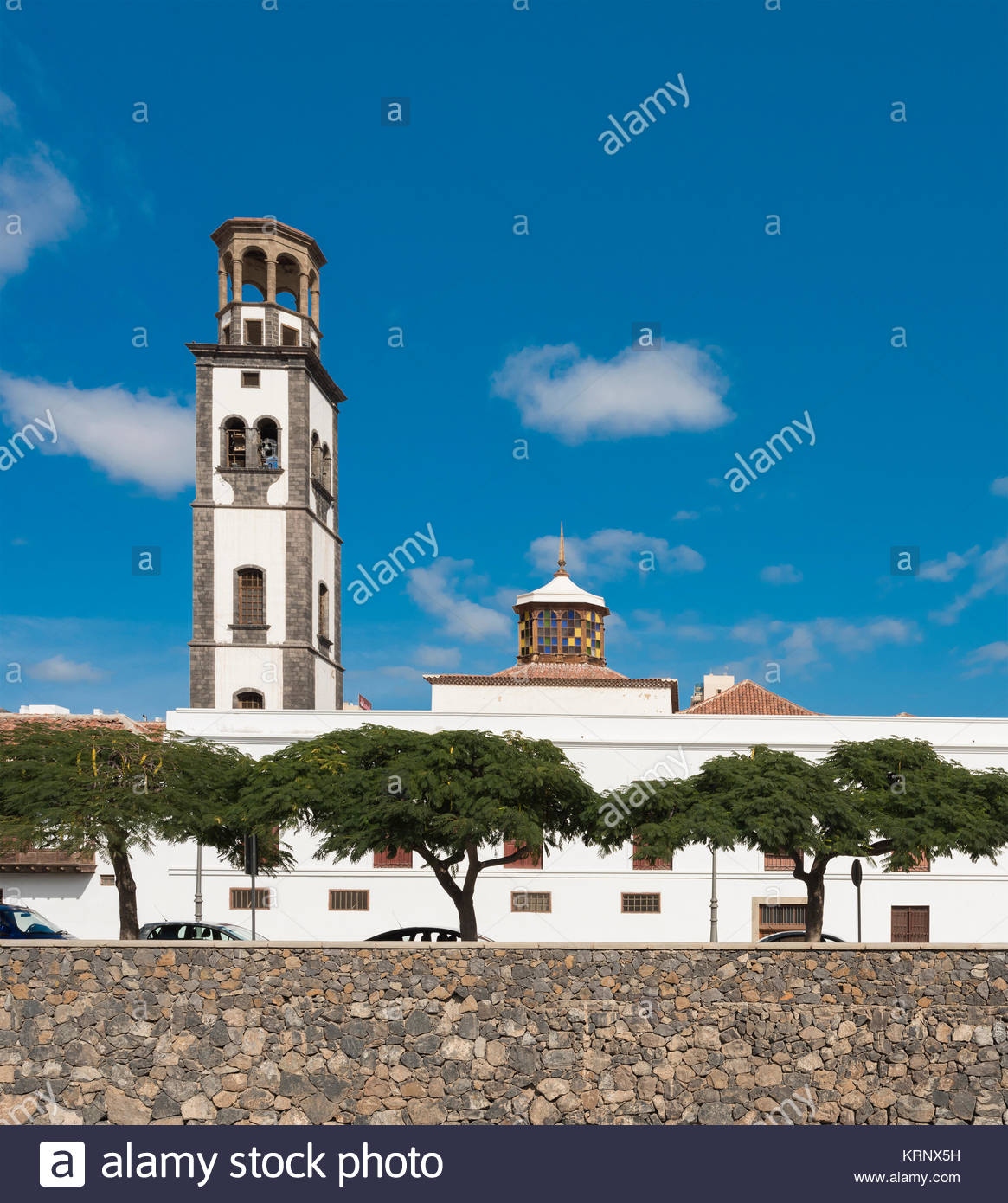 Iglesia de la Concepción is the main Roman Catholic church of Santa Cruz de Tenerife here viewed over the Barranco de Santos Stock Photo