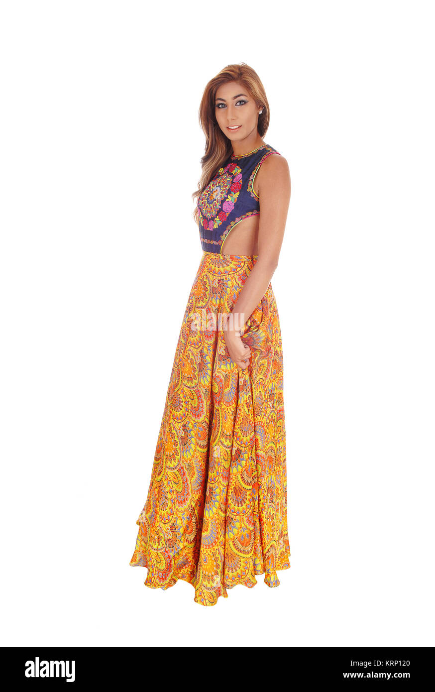 Beautiful woman in long dress. - Stock Image
