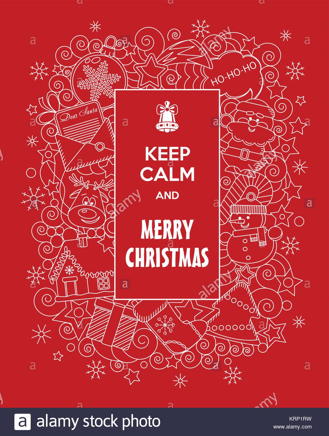 Merry Christmas! Vector doodles illustration Keep Calm and Merry ...