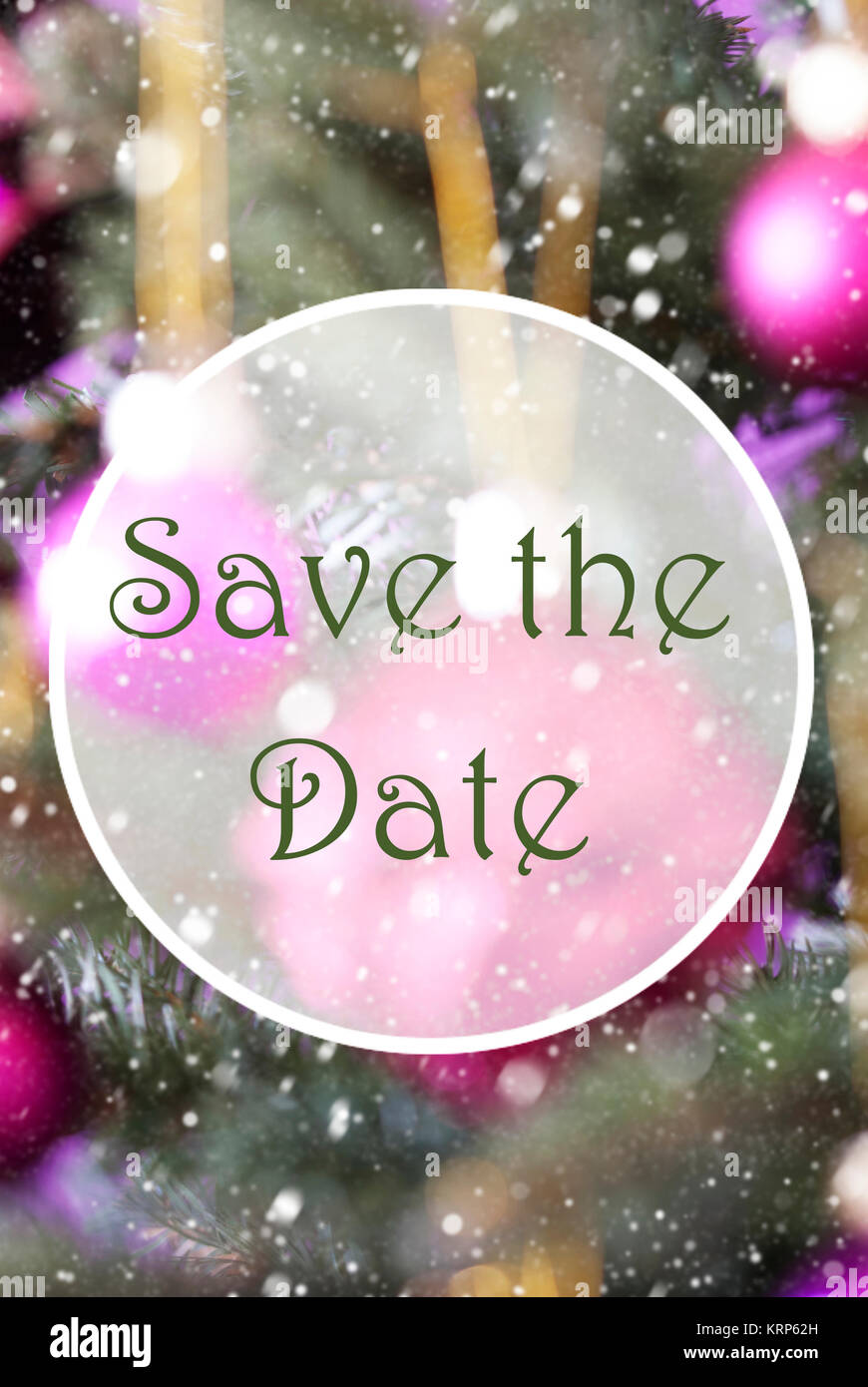 English Text Save The Date. Vertical Christmas Tree With Rose Quartz ...