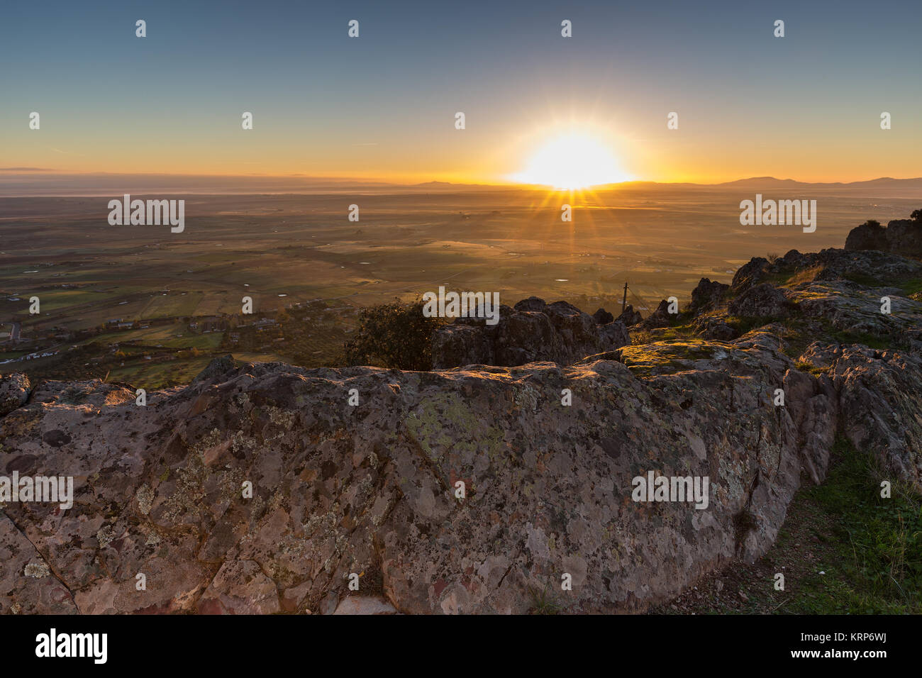 Sunrise from a mountain next to Sierra de Fuentes. Spain. Stock Photo