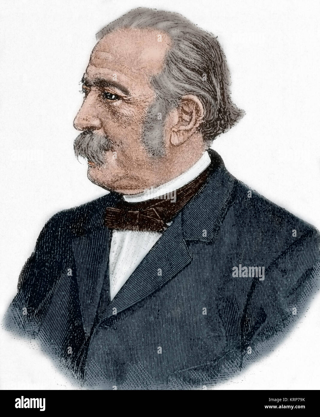 Theodor Fontane (1819-1898). German writer. Portrait. Engraving. Colored. Stock Photo