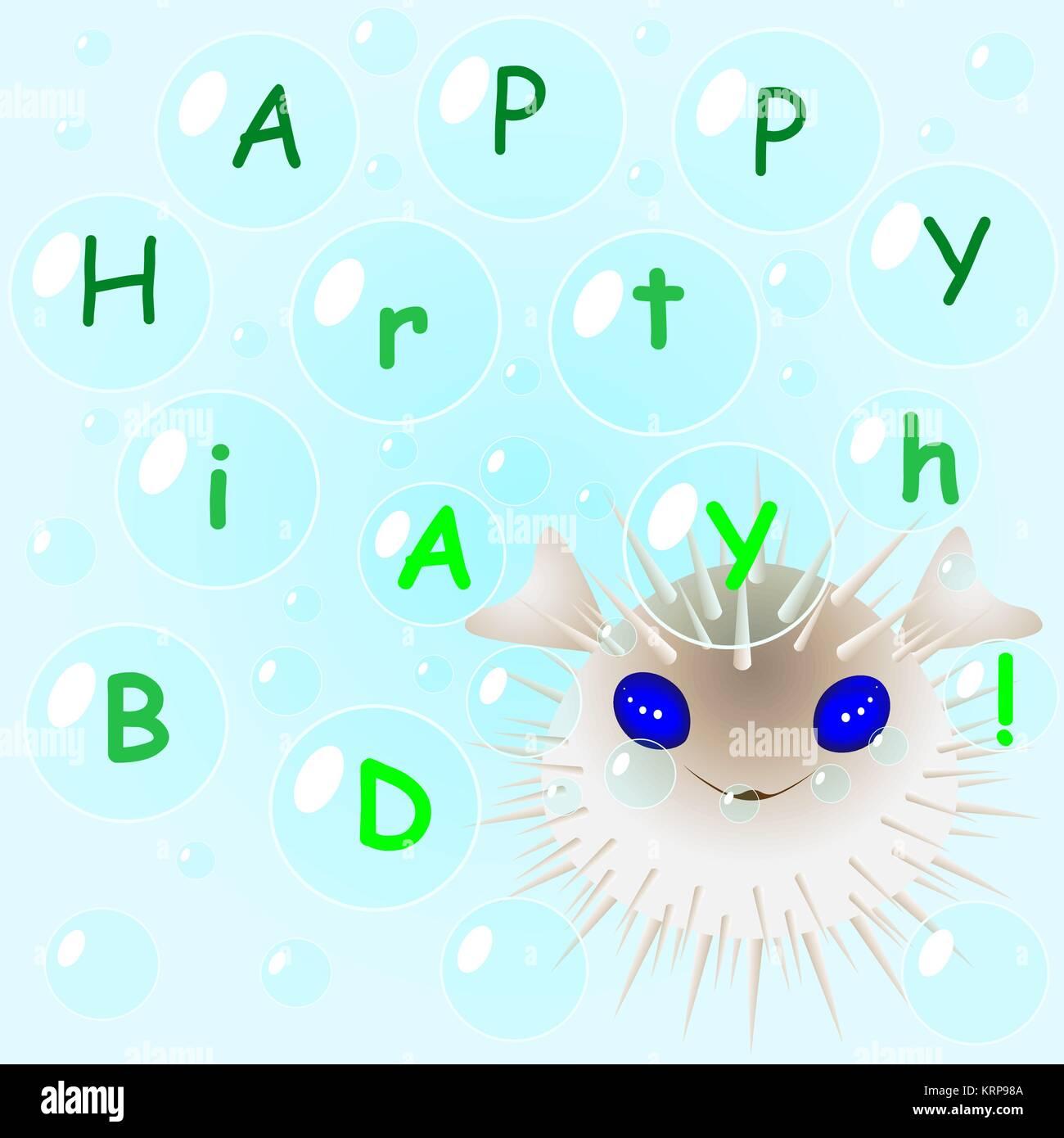 Fugu Fish In Bubbles Congratulates Happy Birthday Congratulations Greeting Card