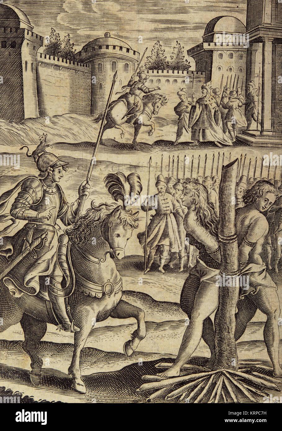 Torquato Tasso (1544-1595). Italian poet. La Gerusalemme Liberata (Jerusalem Delivered), 1580. The Saracen sorceress - Stock Image