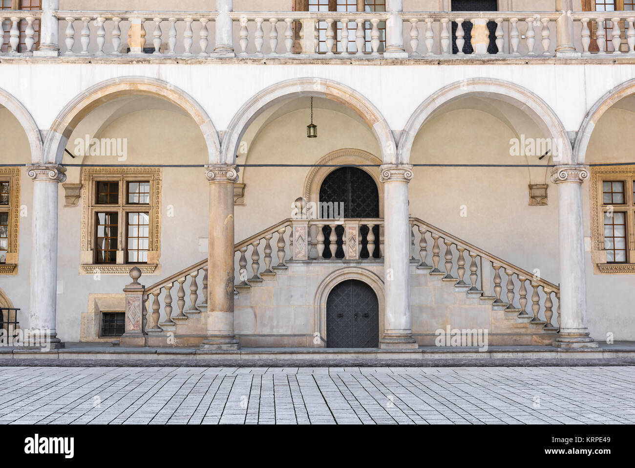 Renaissance castle, a section of the arcaded Renaissance courtyard at the centre of the Wawel Royal Castle in Krakow, - Stock Image