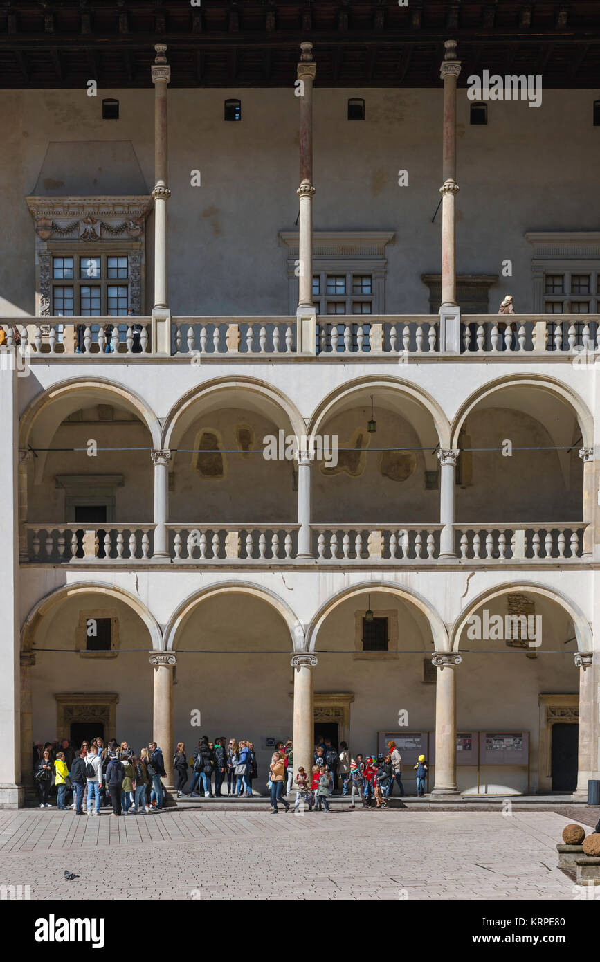 Renaissance Castle Poland, arcaded galleries on the north side of the Wawel Royal Castle courtyard in Krakow. - Stock Image