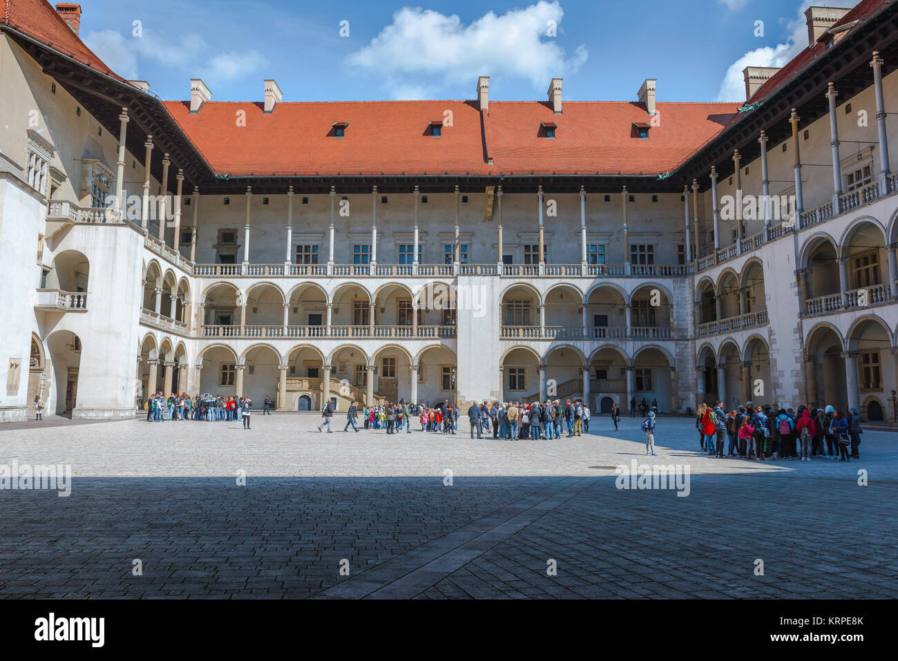 Wawel castle, the arcaded Renaissance courtyard at the centre of Wawel Royal Castle in Krakow, Poland. - Stock Image
