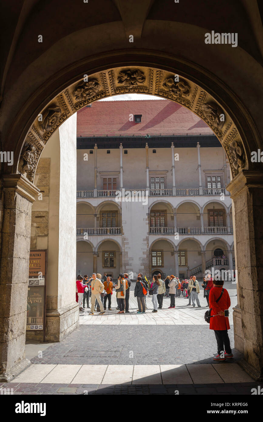 Wawel Castle, the passage from the Cathedral to the arcaded Renaissance courtyard at the centre of Wawel Royal Castle - Stock Image