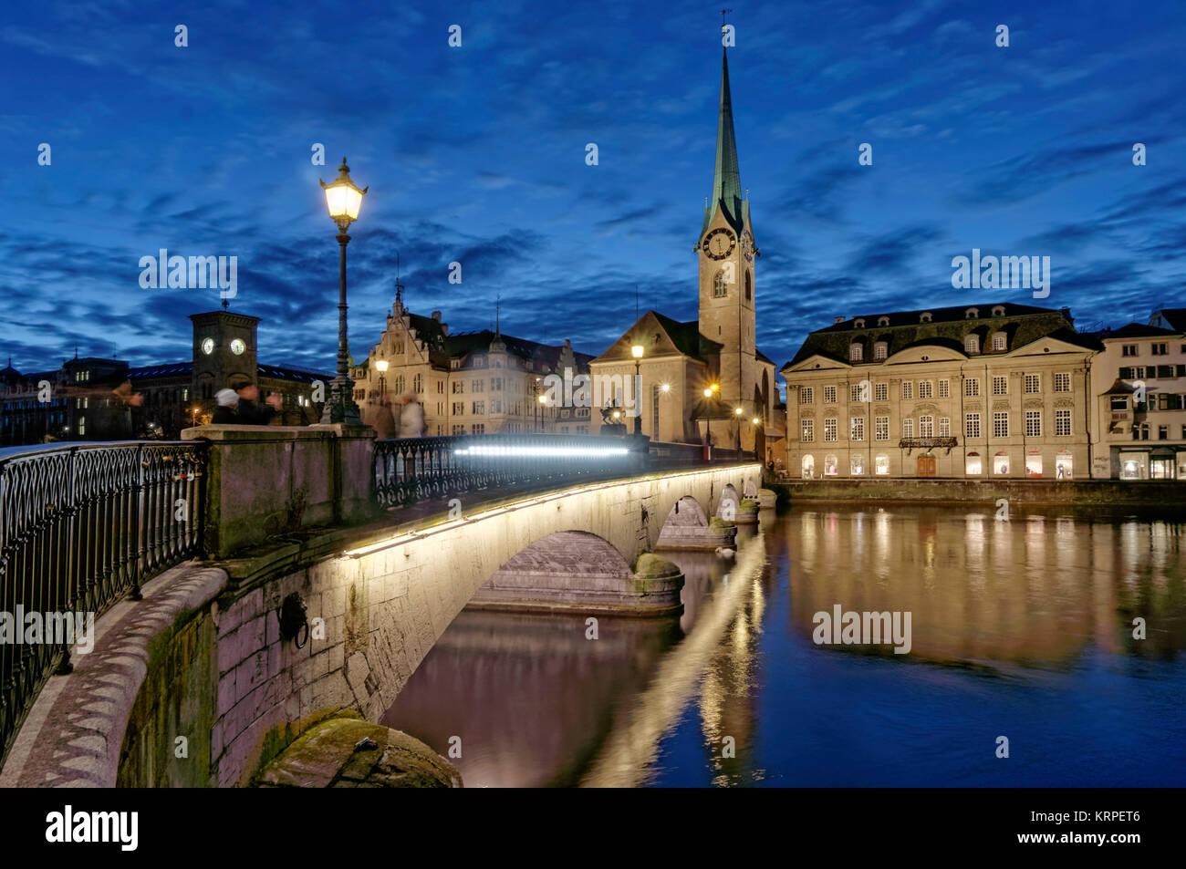 Munster Bridge, Fraumunster,  River Limmat, Zurich, Switzerland - Stock Image