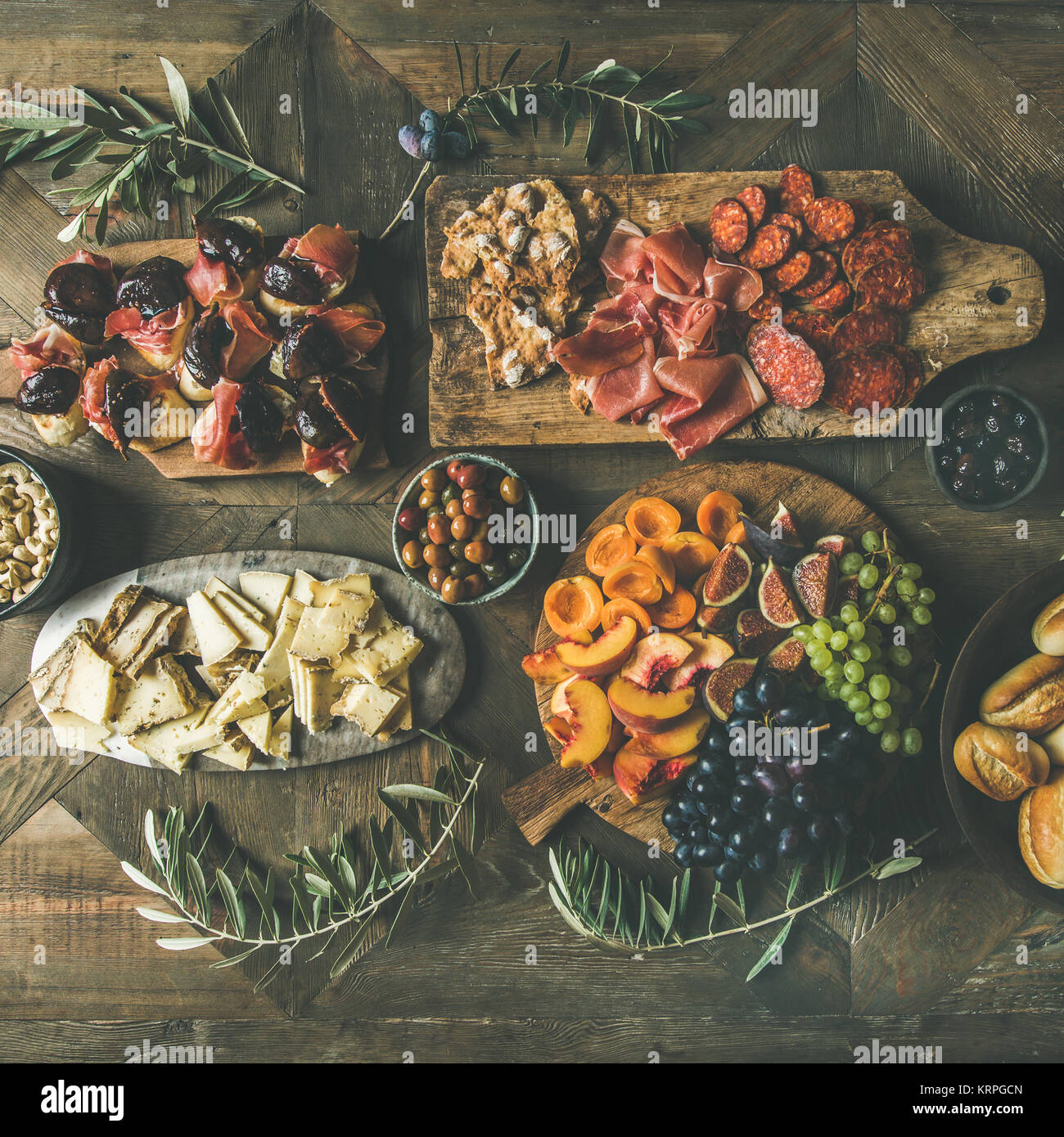 Flat-lay of holiday, party, family dinner table set, square crop - Stock Image