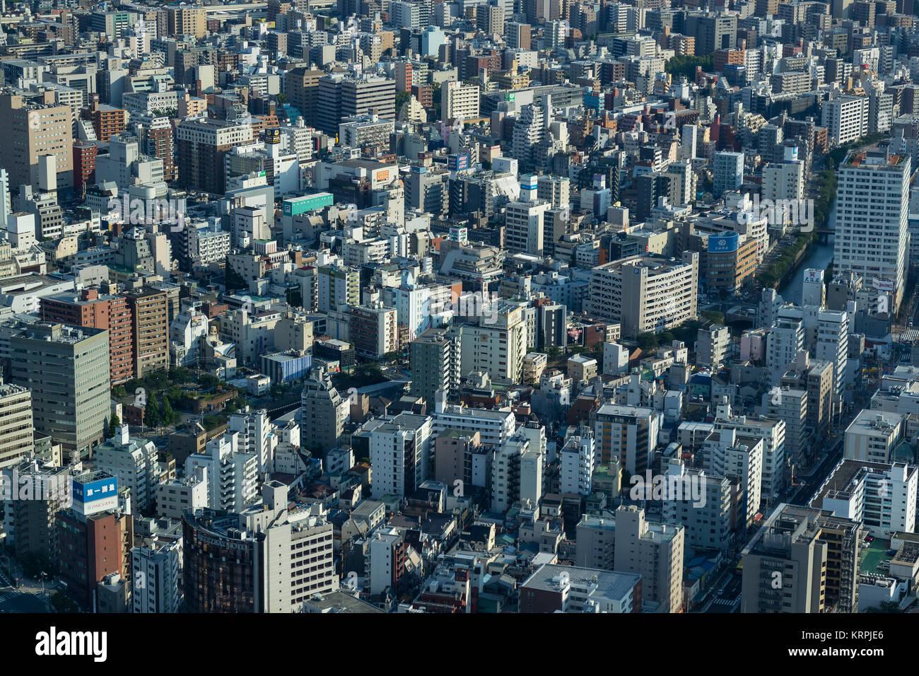 Yokohama - Japan, June 15, 2017;  Aerial view on Naka Ward, located in eastern Kanagawa Prefecture, Yokohama city Stock Photo