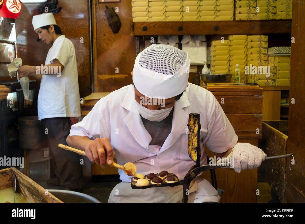 Tokyo - Japan, June 16, 2017; Preparing traditional Japanese handmade cookies in a small biscuit bakery in Asakusa, - Stock Image