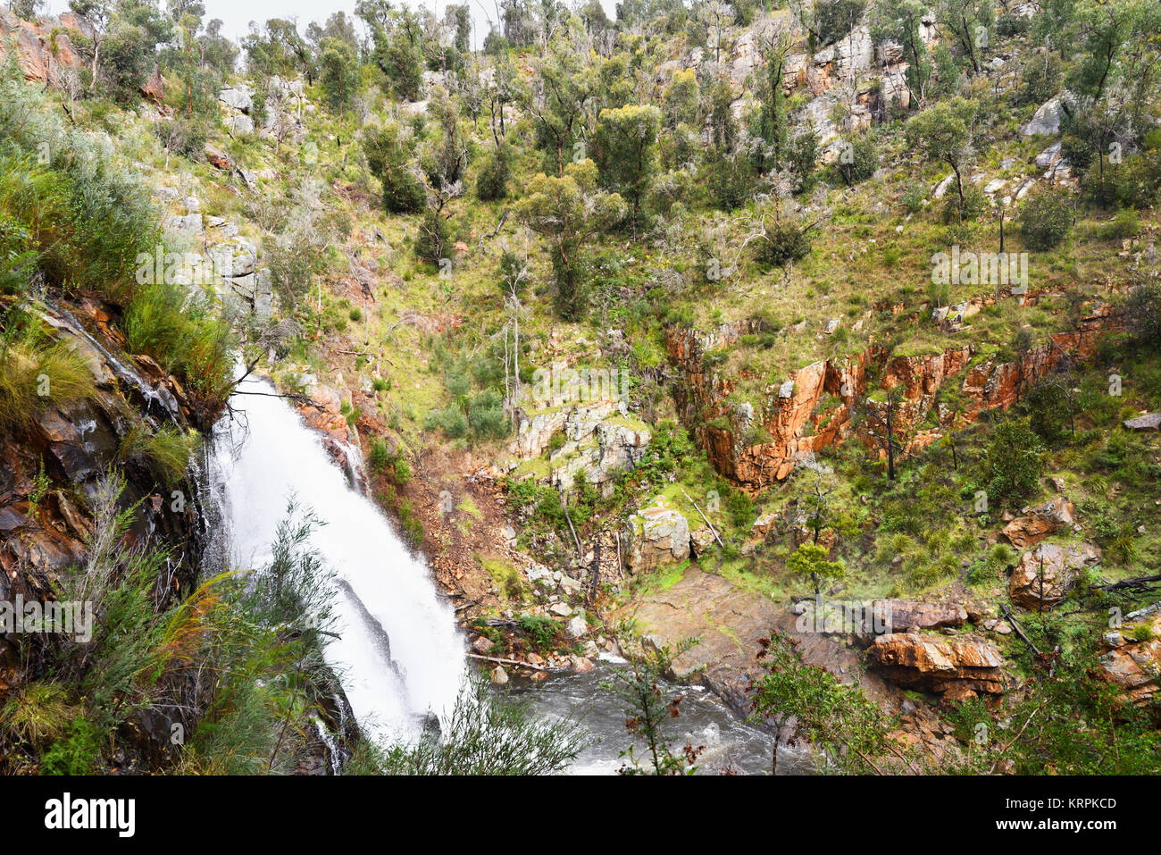 Australia Victoria. The Mackenzie Falls in The Grampians National Park is surrounded by greenery as spring begins. - Stock Image