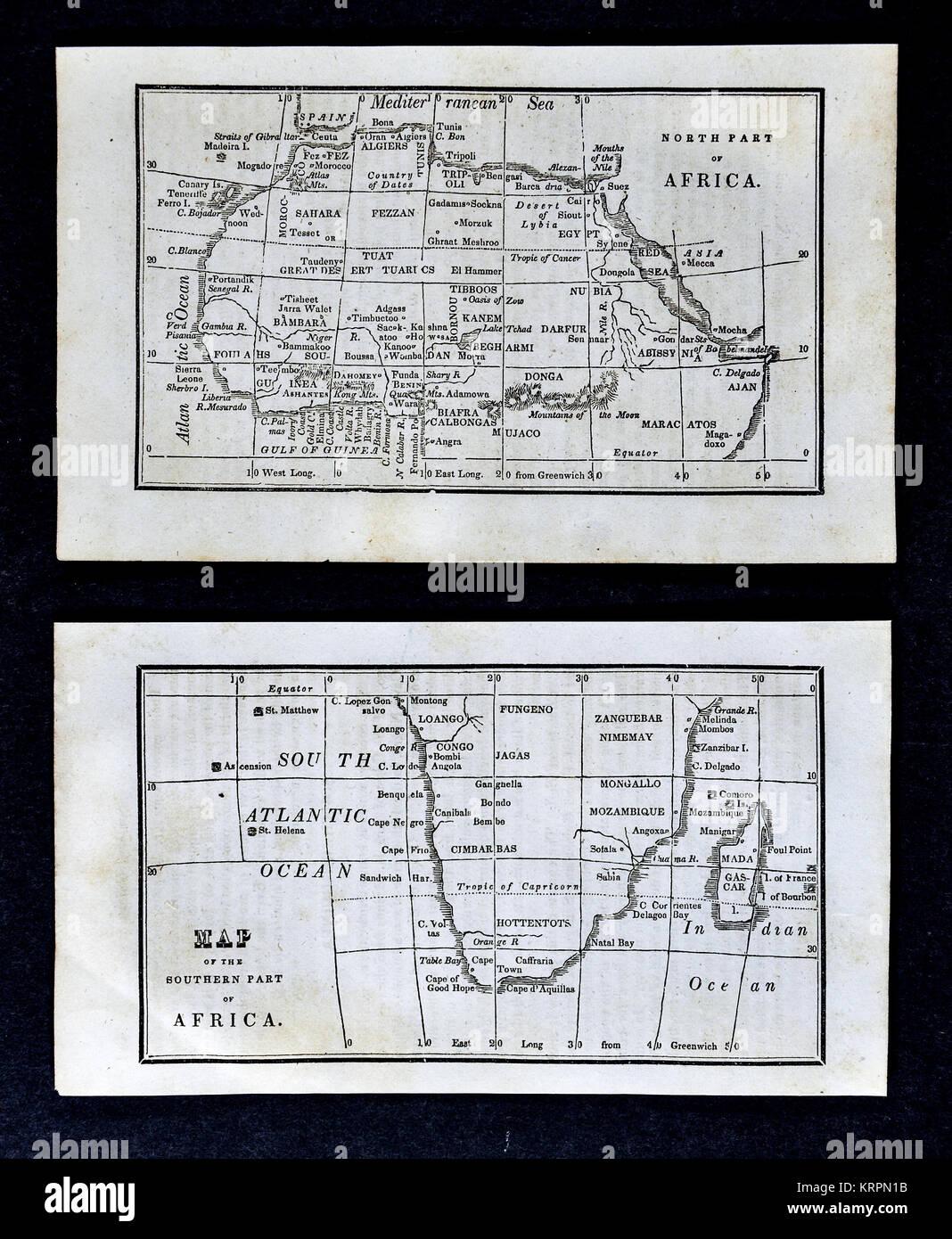 1830 Nathan Hale Map - South Africa - Cape of Good Hope Congo Angola Madagascar Cape Colony - Stock Image