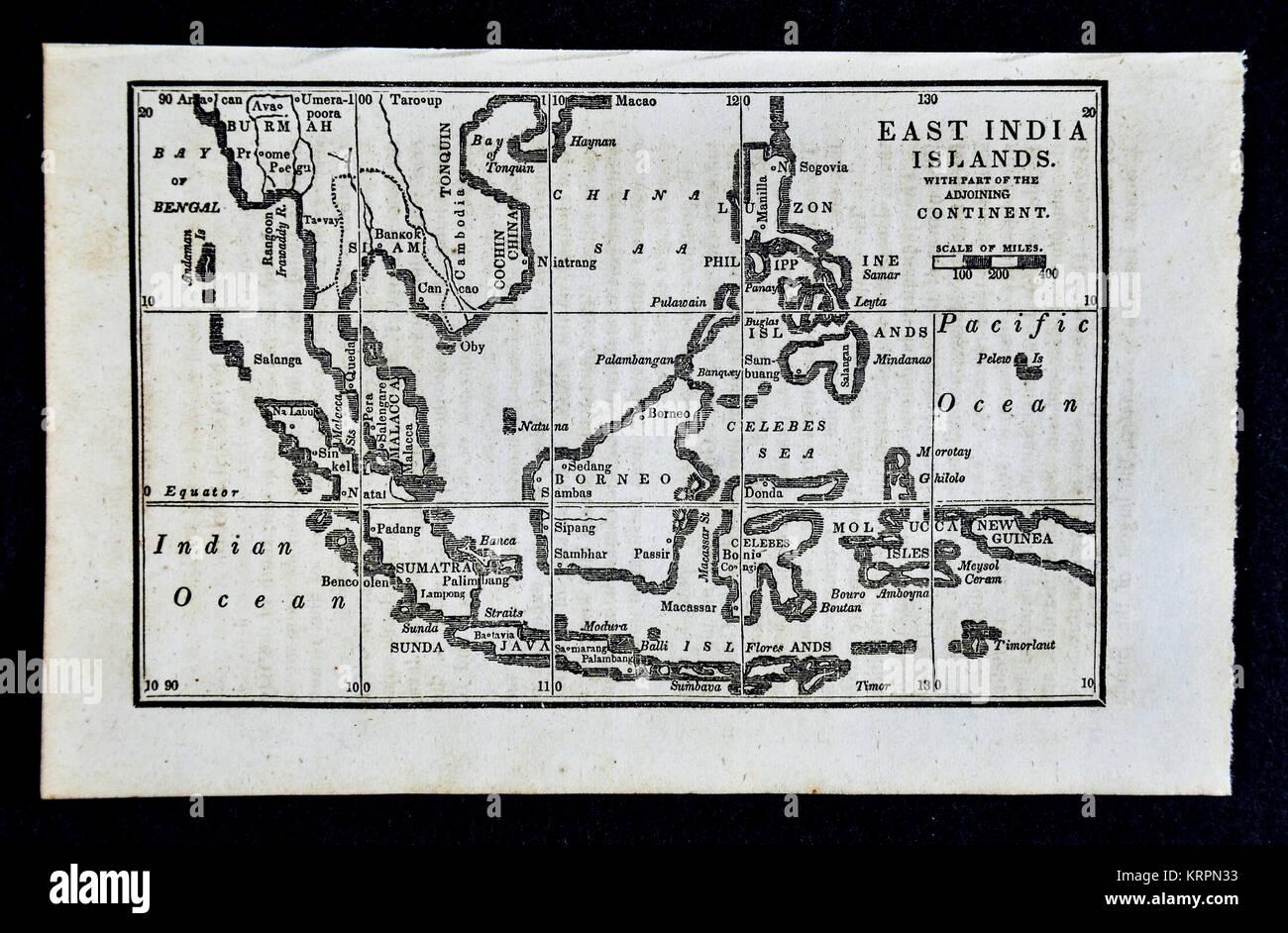 1830 Nathan Hale Map - East Indies - Singapore Malaysia Philippines Sumatra Java Borneo Celebes Stock Photo
