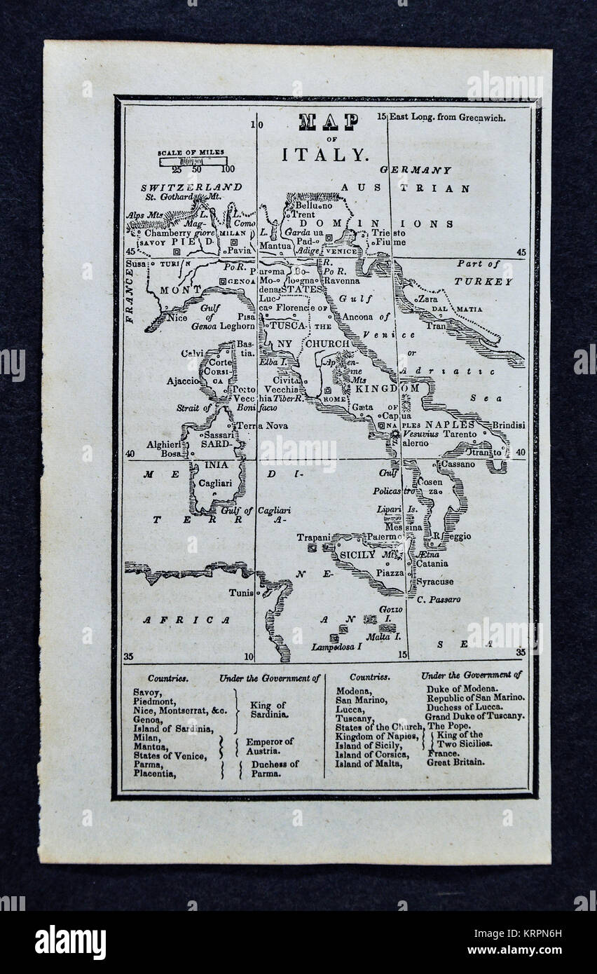 1830 Nathan Hale Map - Italy - Rome Florence Venice Pisa Naples Sicily - Stock Image