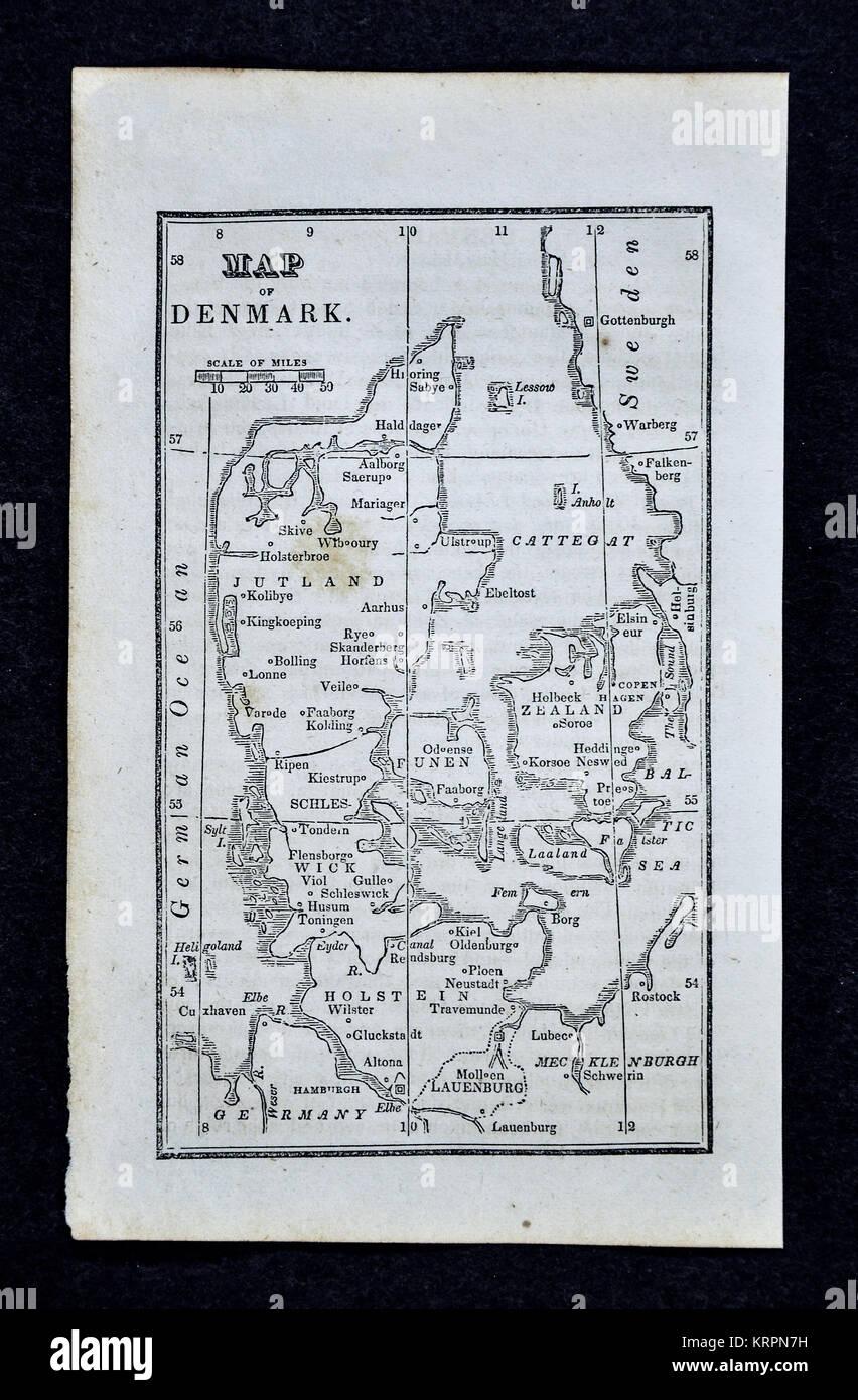 1830 Nathan Hale Map - Denmark - Copenhagen - Stock Image