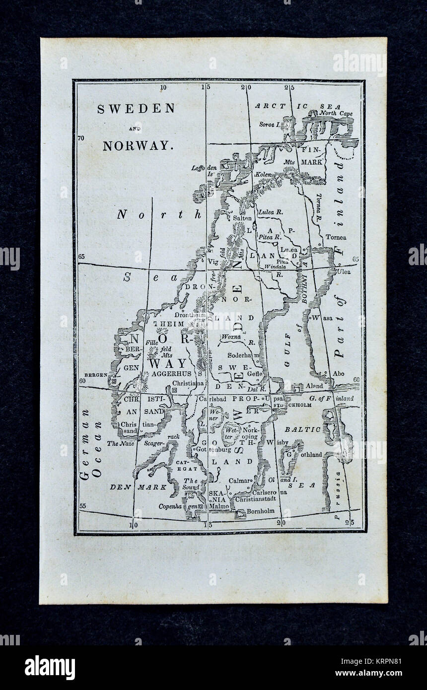 1830 Nathan Hale Map - Scandinavia - Sweden Norway Denmark ... on
