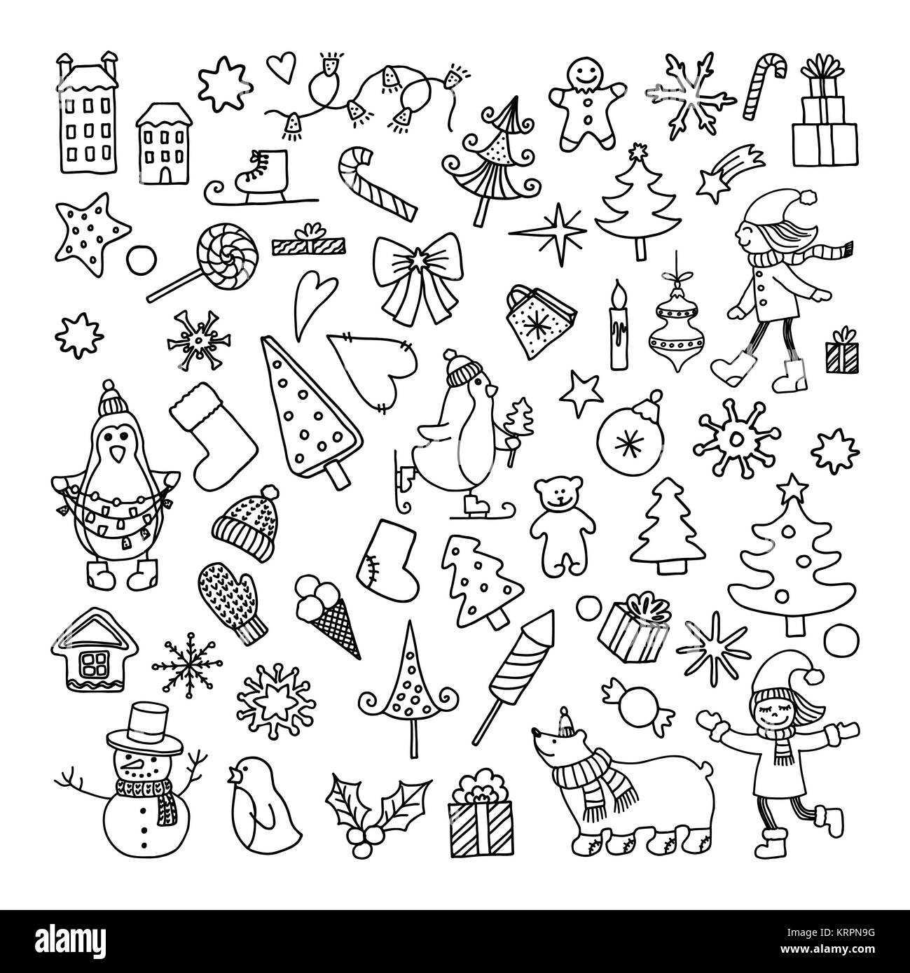 Doodle Christmas Object Cartoon Stock Photos & Doodle Christmas ...