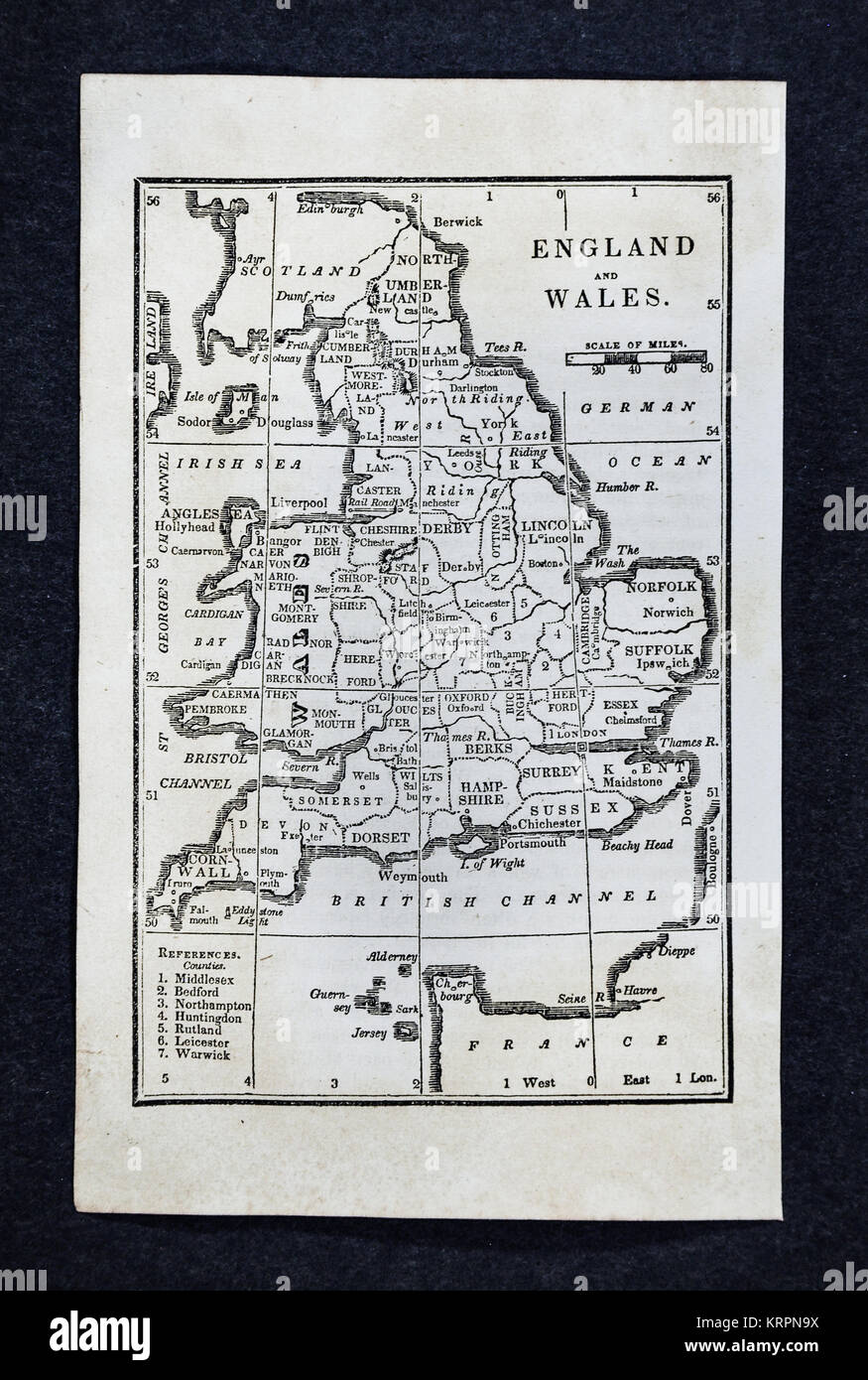 1830 Nathan Hale Map - England & Wales - Great Britain - United Kingdom UK - London Liverpool Manchester Cornwall - Stock Image