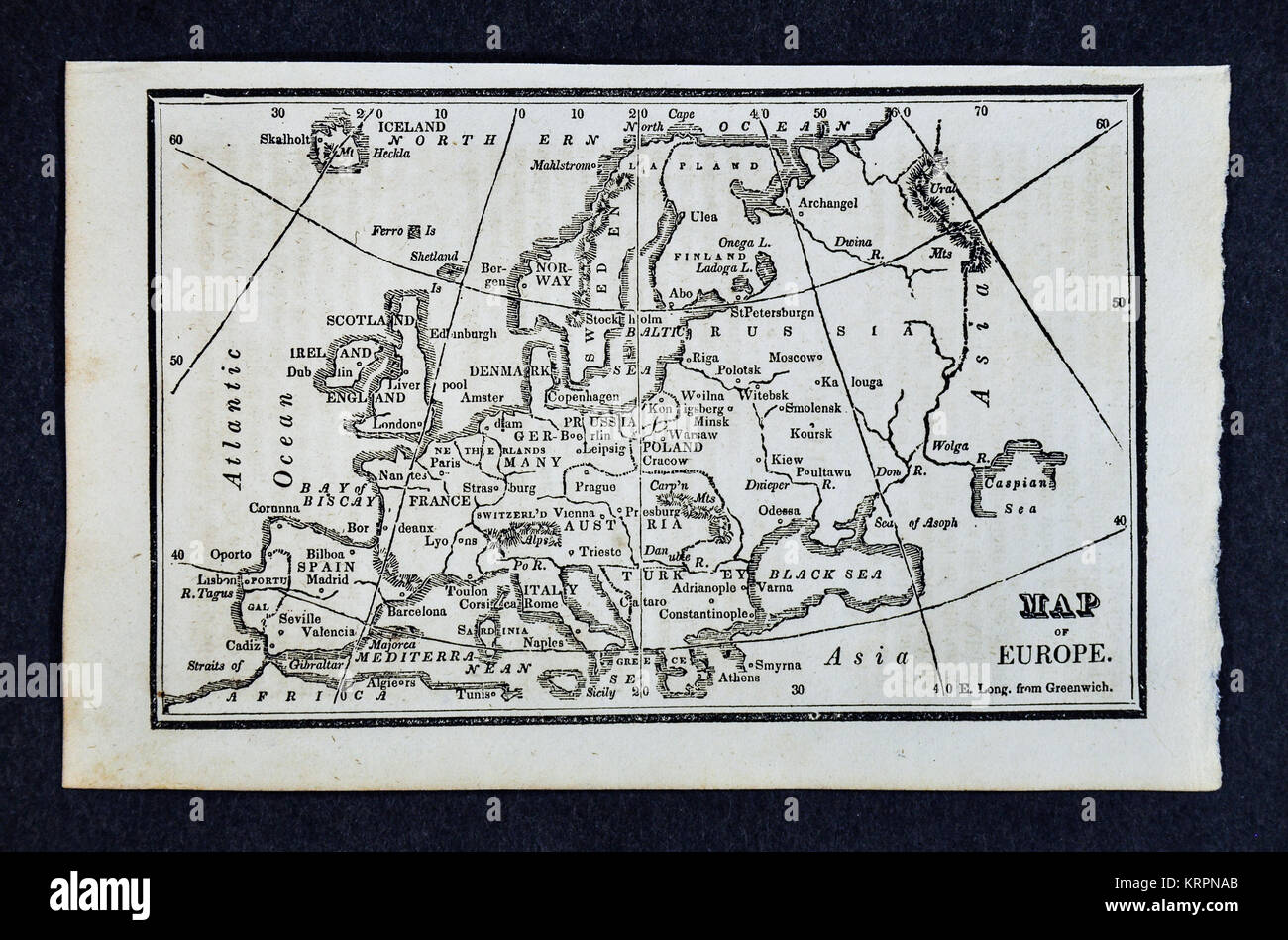 1830 Nathan Hale Map - Europe Continent - Spain France England Germany Italy Austria Norway Sweden Finland Russia - Stock Image