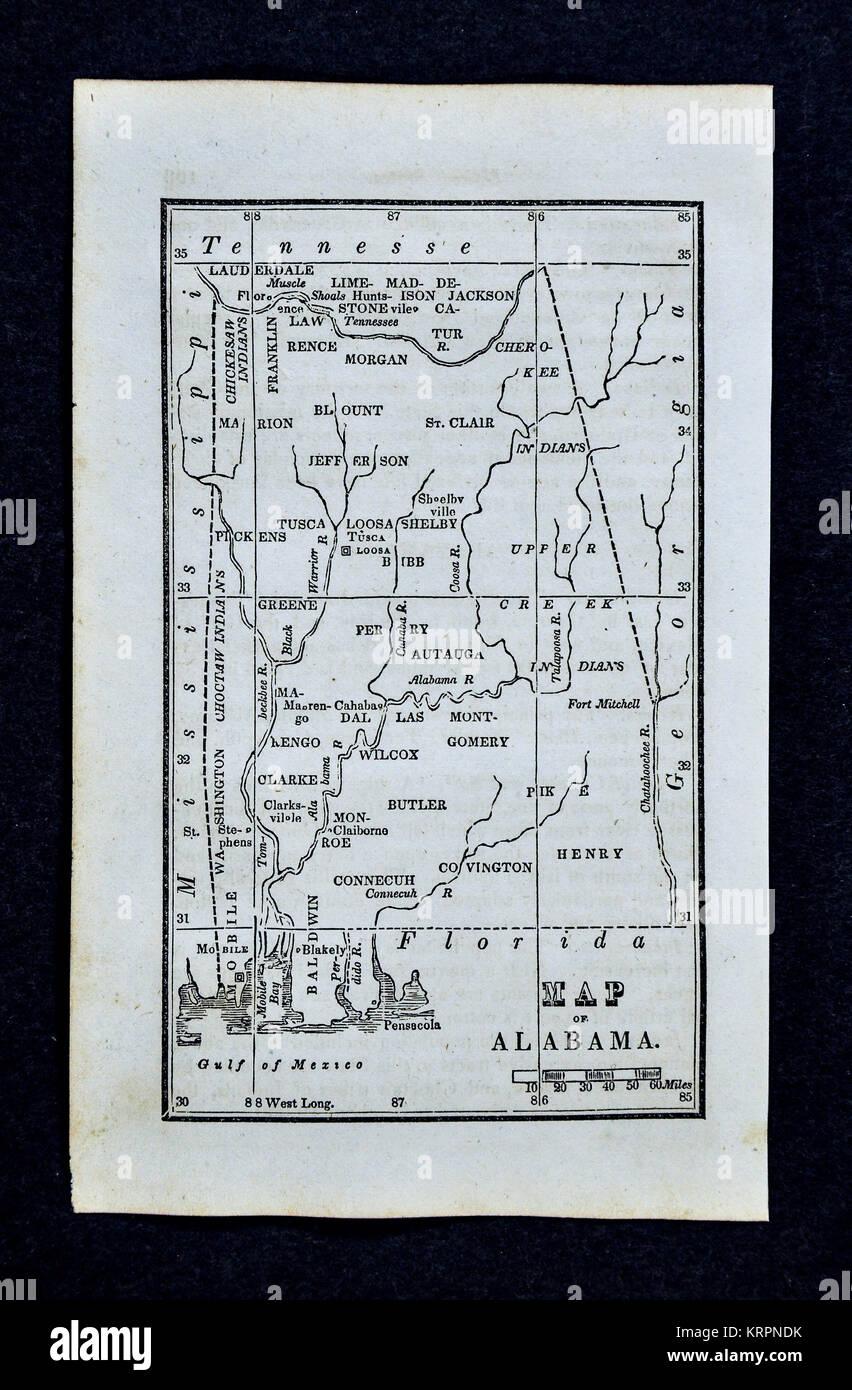 1830 Nathan Hale Map - Alabama - United States Montgomery Birmingham Mobile - Stock Image
