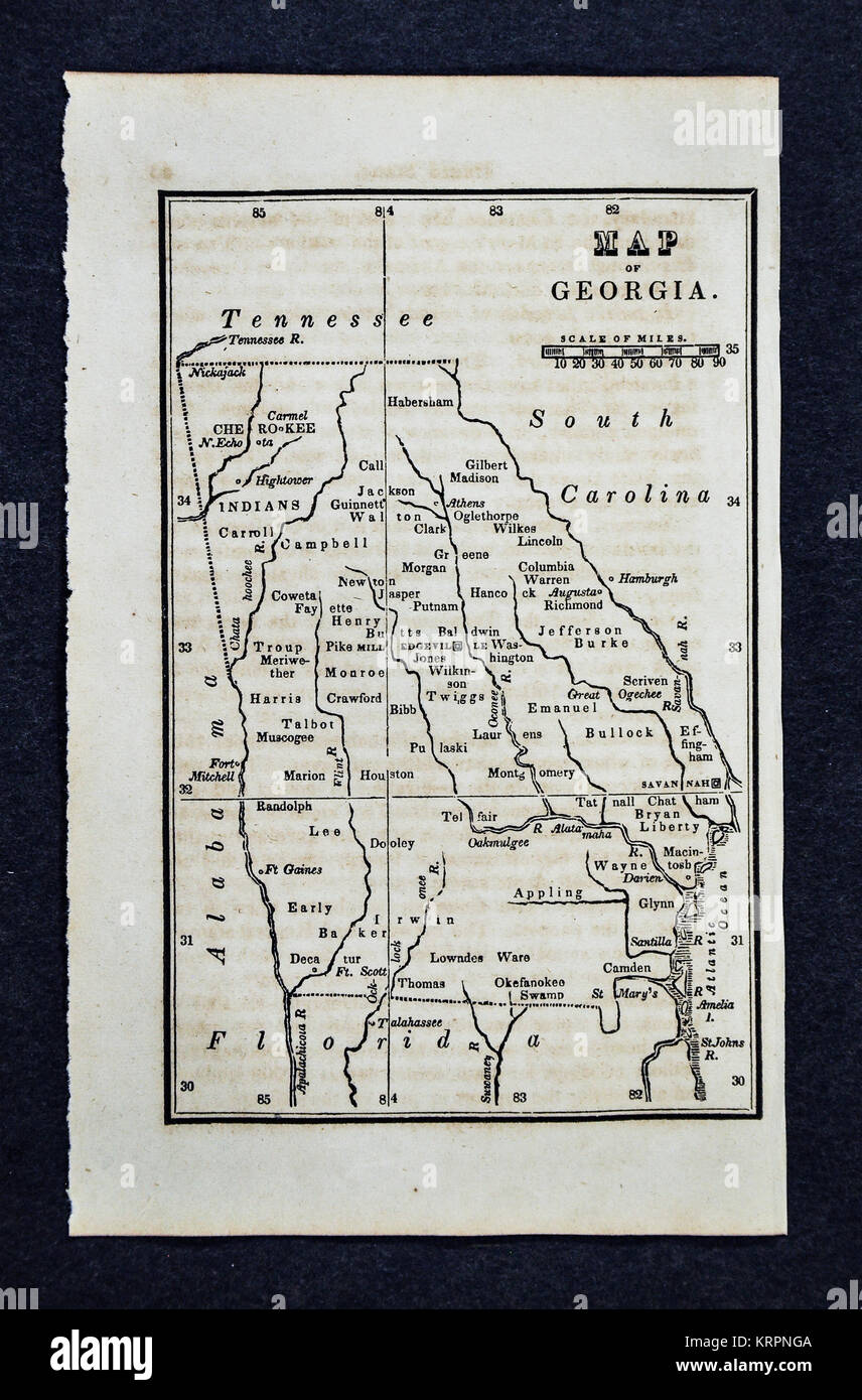 Map Of Georgia 1830.Vintage Georgia Map Stock Photos Vintage Georgia Map Stock Images