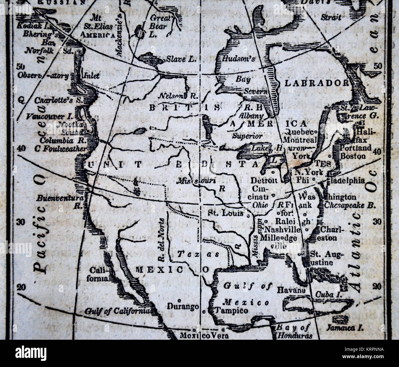 1830 Us Map.1830 Nathan Hale Map North America United States Canada Mexico