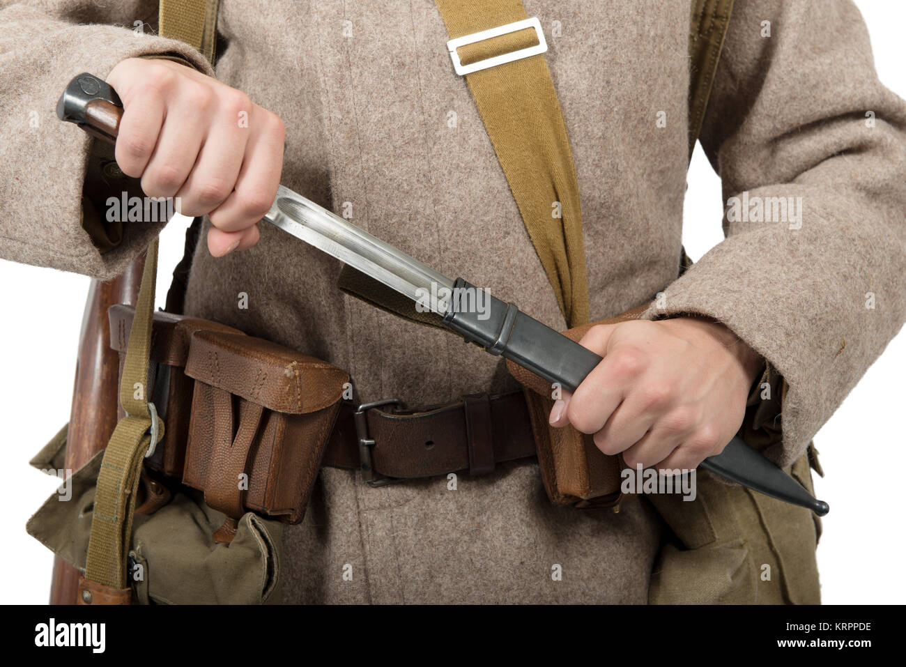 Close-up of the bayonet of a Soviet soldier,ww2 - Stock Image