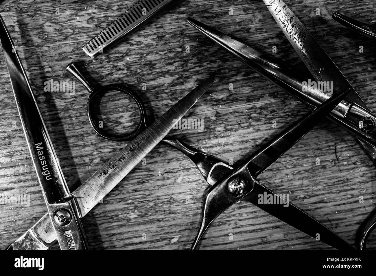 Traditional barber in Crete - Stock Image