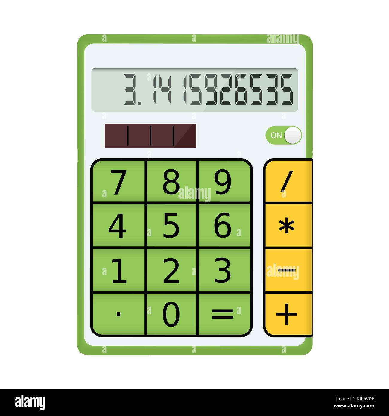 Green electronic calculator with a solar panel on a white