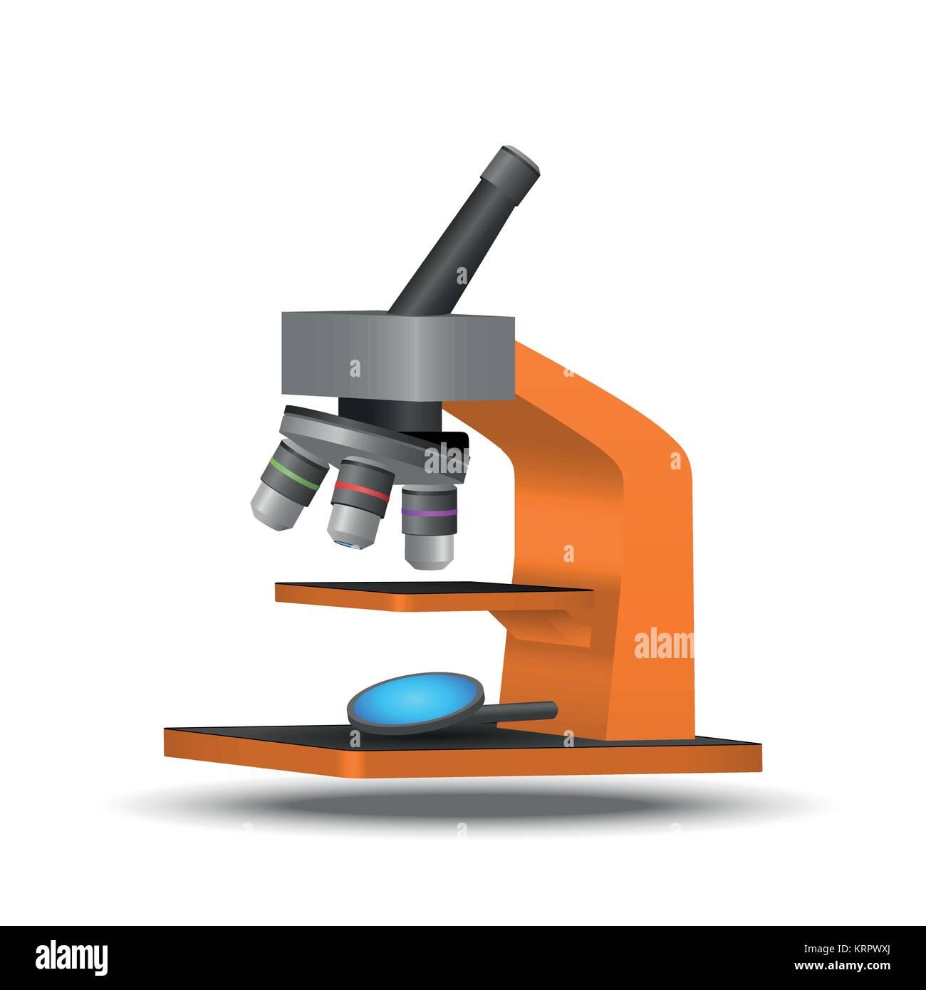 Vector orange microscope on a white background - Stock Vector