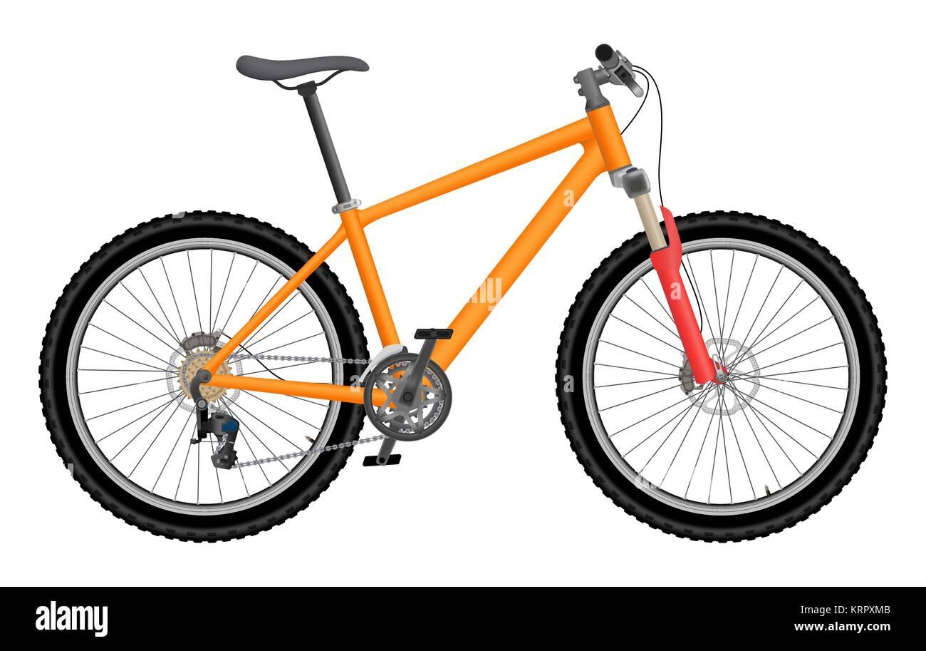 Vector orange bike isolated on white background - Stock Image