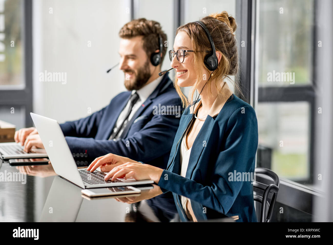 Business conference with headset - Stock Image