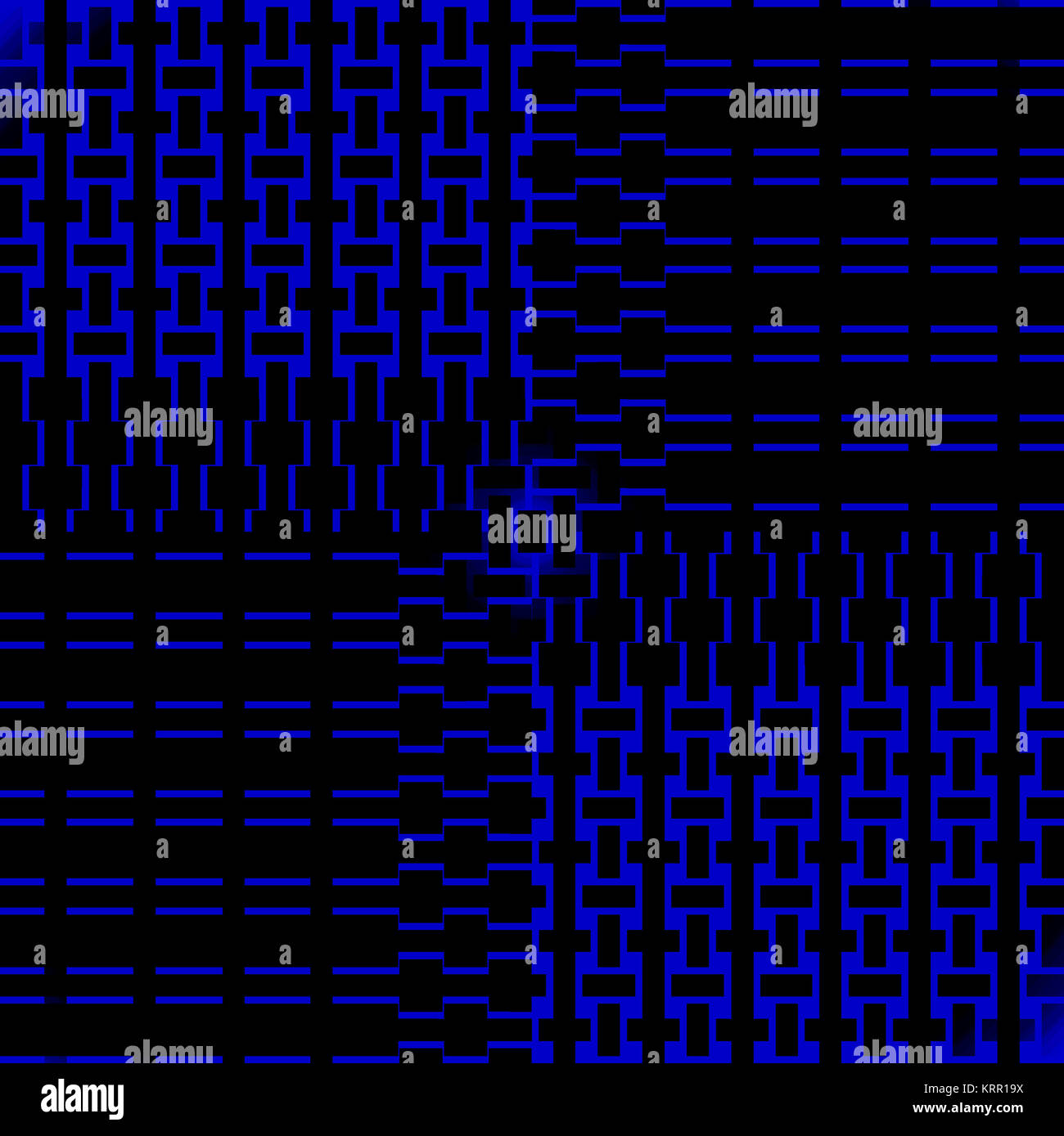 Abstract geometric seamless modern background. Regular rectangles pattern dark blue and black in the opposite direction. - Stock Image