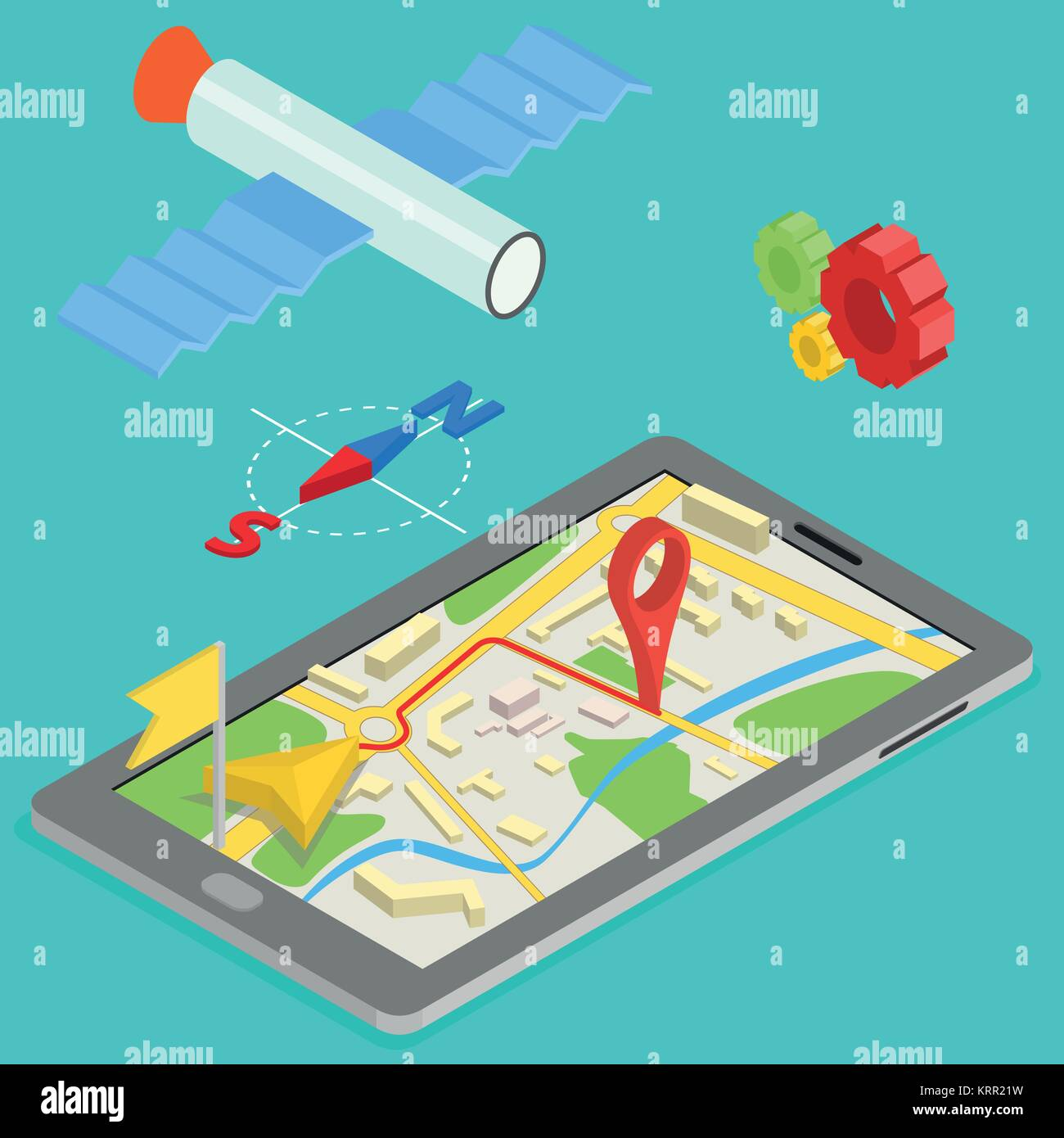 Illustration of GPS in mobile phone showing route map - isometric