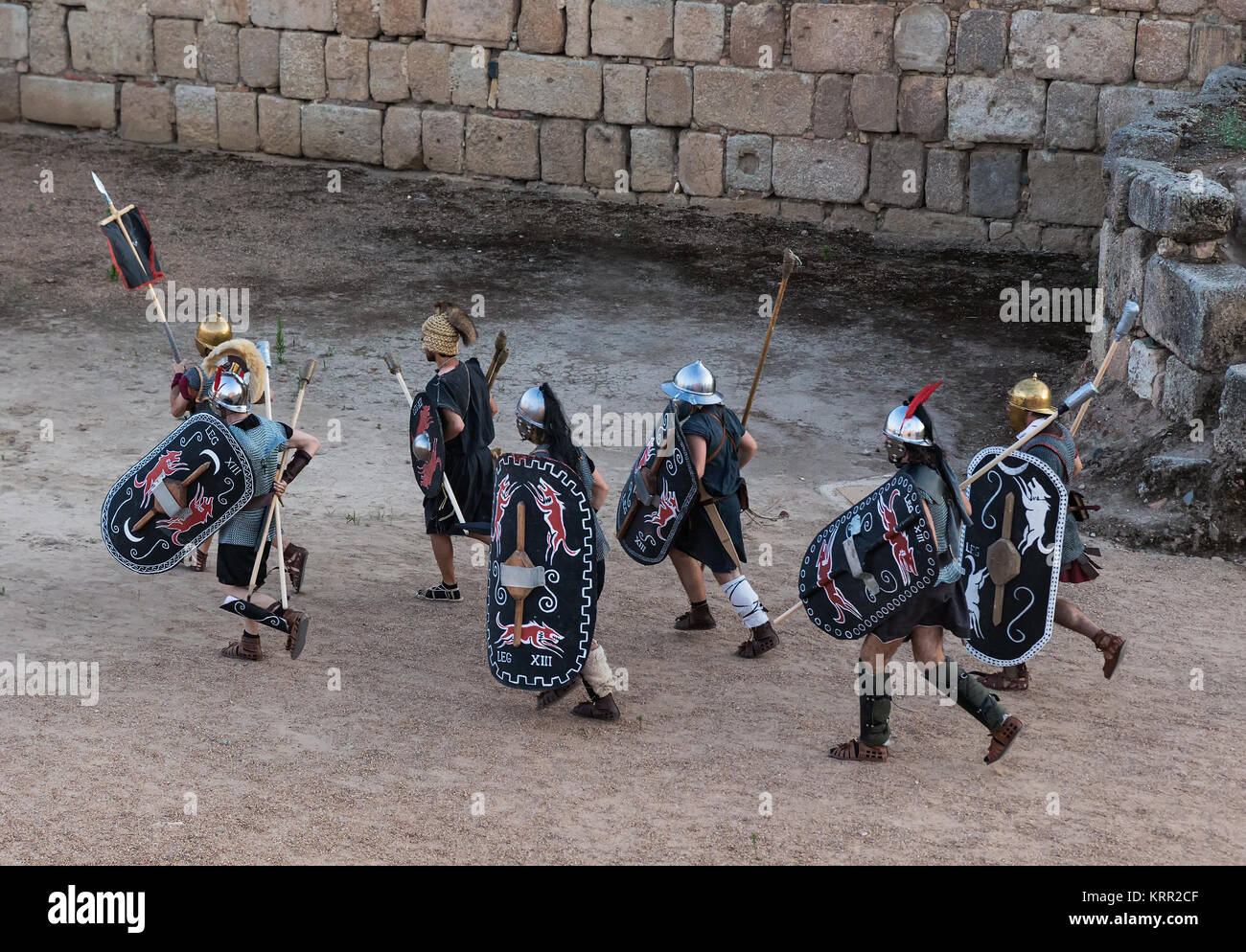 Mérida, Spain - June 19, 2015:  Several people dressed in the costume of ancient Celtic warrior in the first - Stock Image