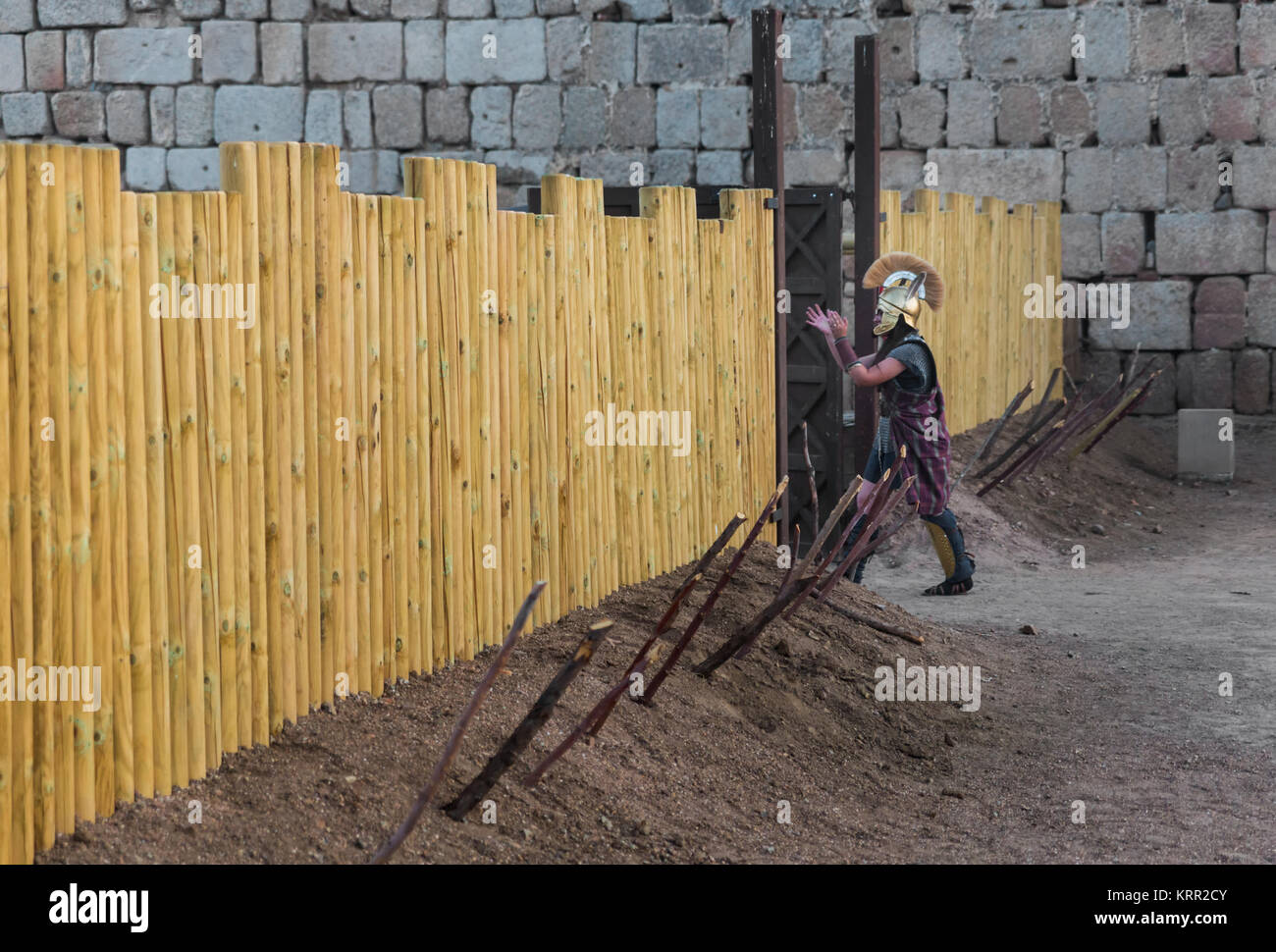 Mérida, Spain - June 19, 2015: A person dressed in the costume of ancient warrior in the first century, participates - Stock Image