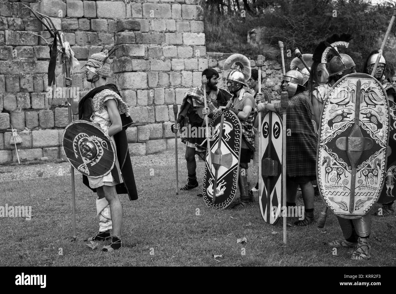 Mérida, Spain - September 27, 2014: Several people dressed in the costume of ancient Celtic warrior in the - Stock Image