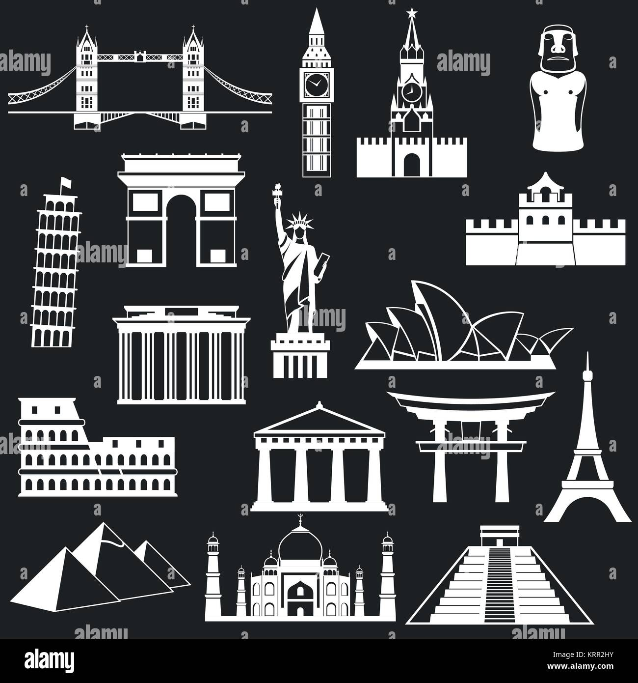 World famous buildings abstract silhouettes - vector icon set Stock Vector