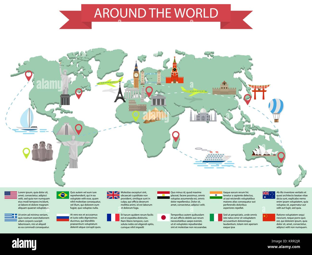 Infographic world landmarks on map kremlin eiffel big ben tower infographic world landmarks on map kremlin eiffel big ben tower bridge leaning tower great wall japan india and other places vector illustrat gumiabroncs Choice Image
