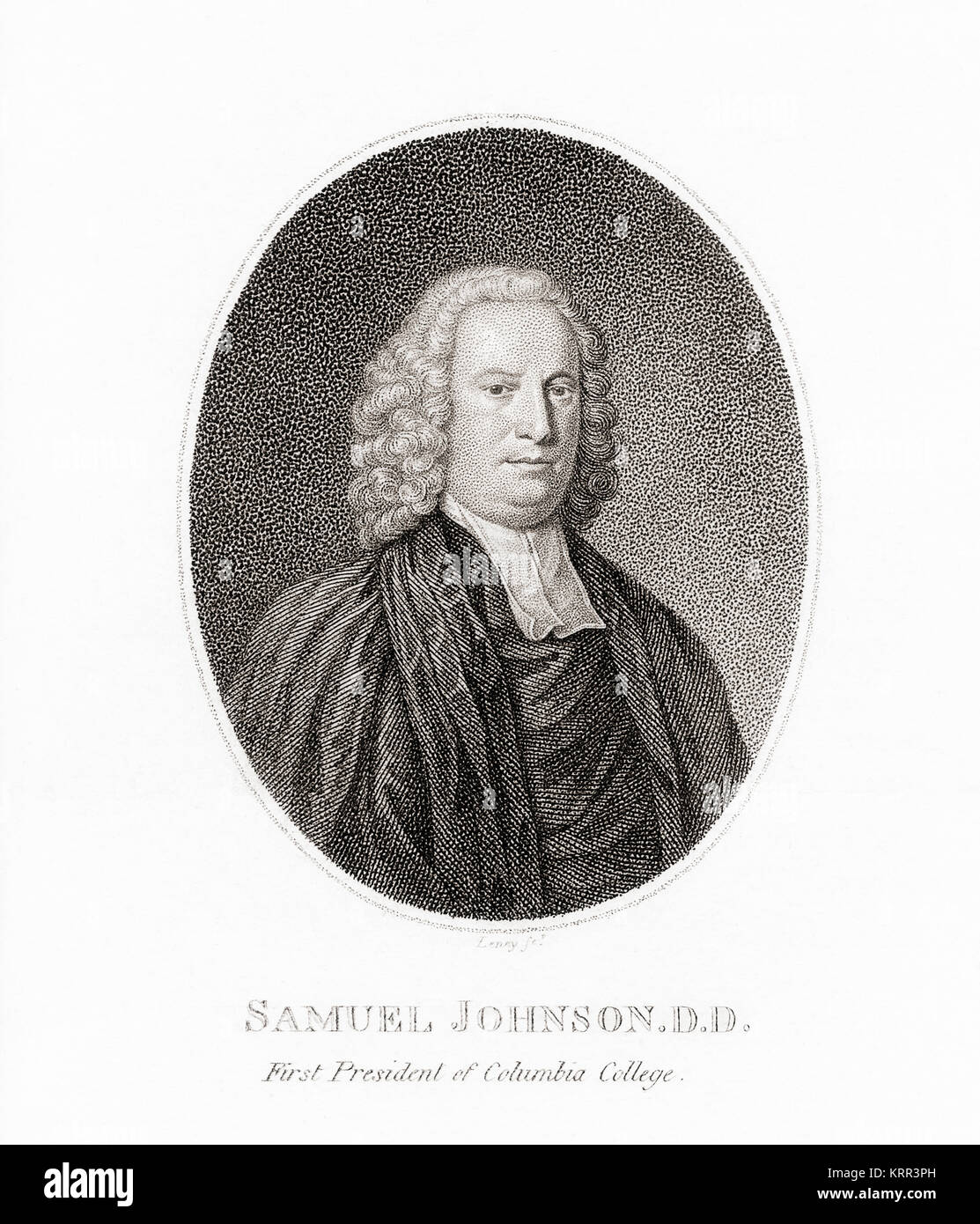 Samuel Johnson,1696 – 1772, colonial American clergyman, educator and encyclopedist.  First president of the Anglican - Stock Image