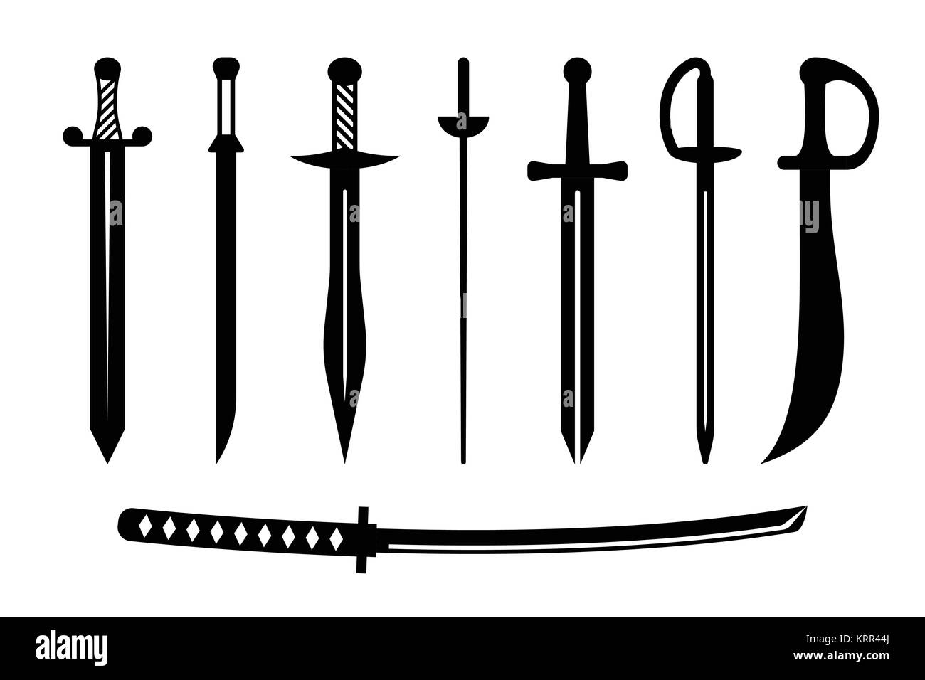 Vector military sword ancient weapon design silhouette - Stock Image