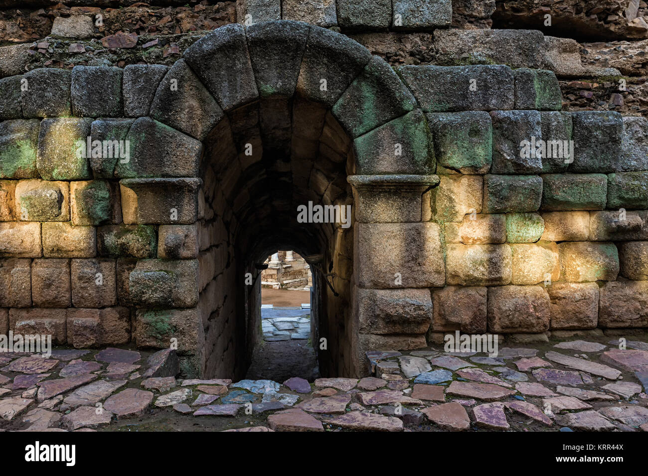 Entrance under the bleachers at the Roman theater in Merida. Spain. - Stock Image
