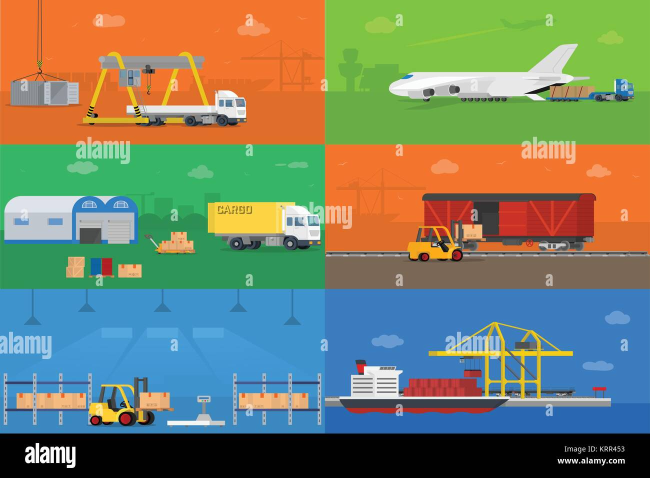 Set of flat vector web banners on the theme of logistics warehouse freight cargo transportation. Vector concept - Stock Image