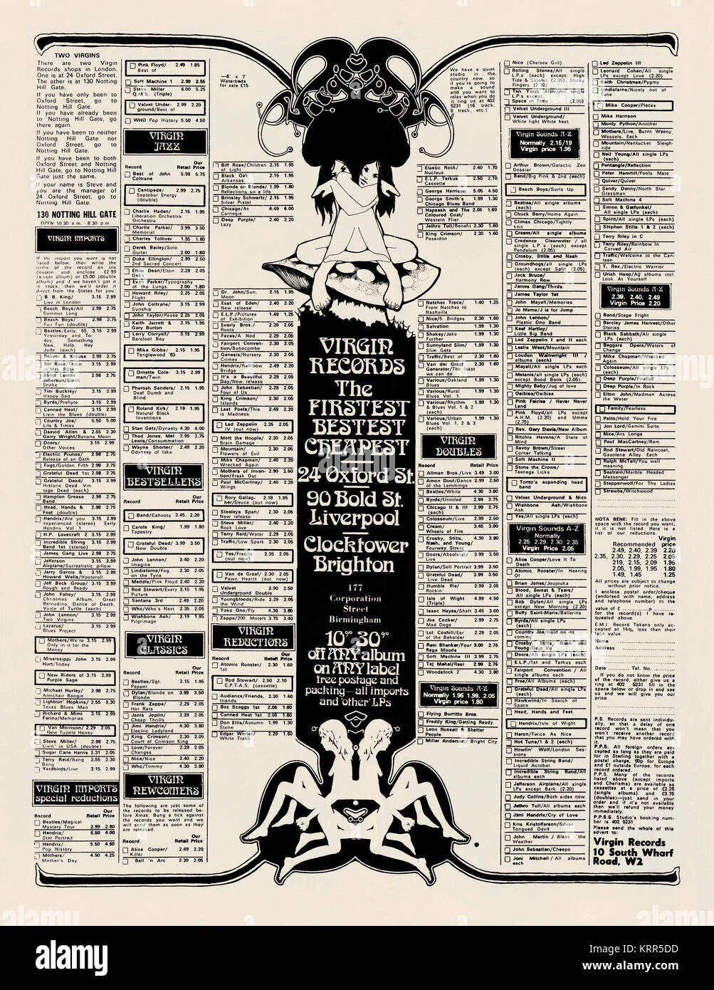 A 1971 advert for Virgin Records mail-order LPs and shops in the British music magazine, Melody Maker. At that time - Stock Image