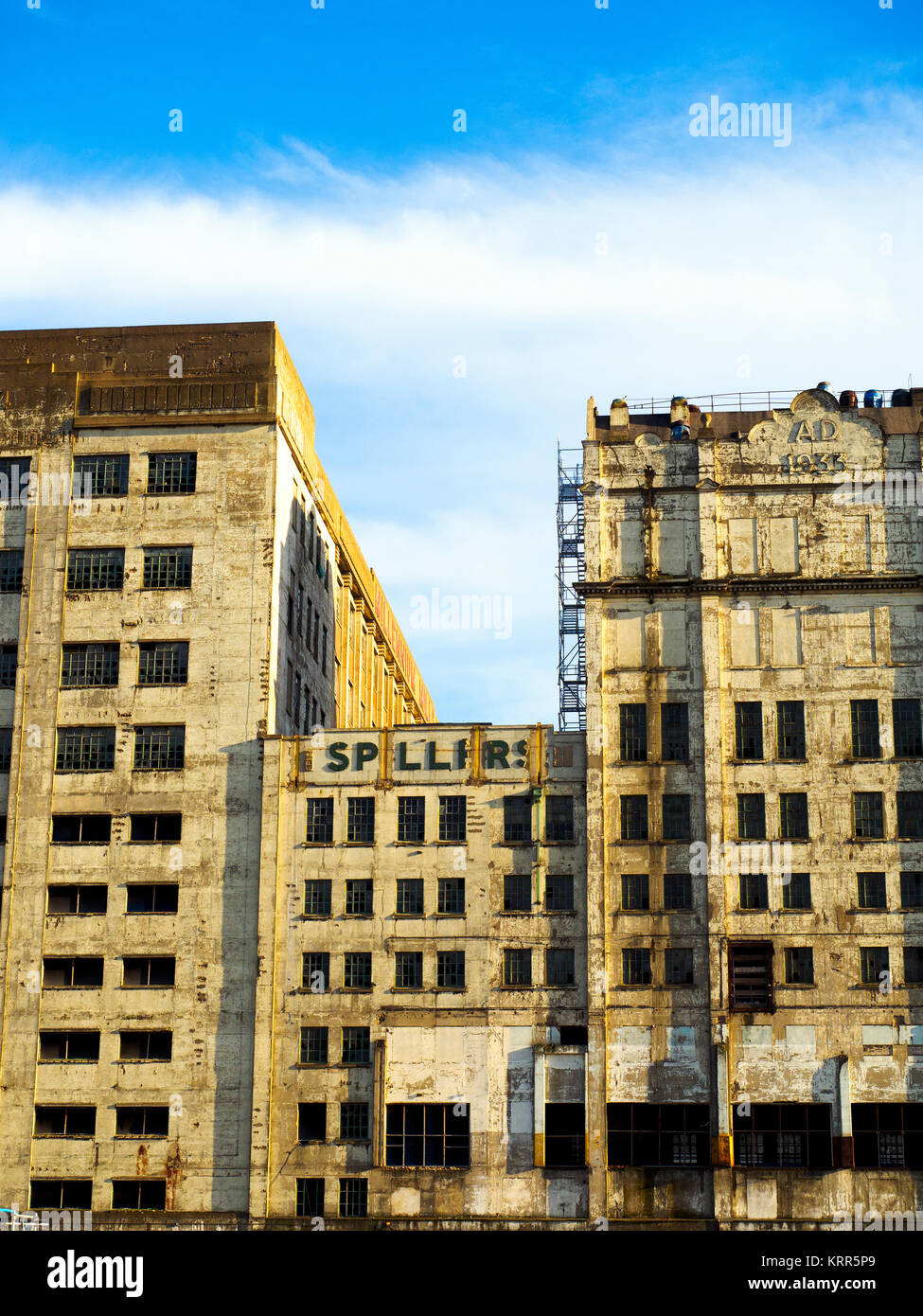 The Millennium Mills is a derelict turn of the 20th century flour mill in West Silvertown on the south side of the - Stock Image